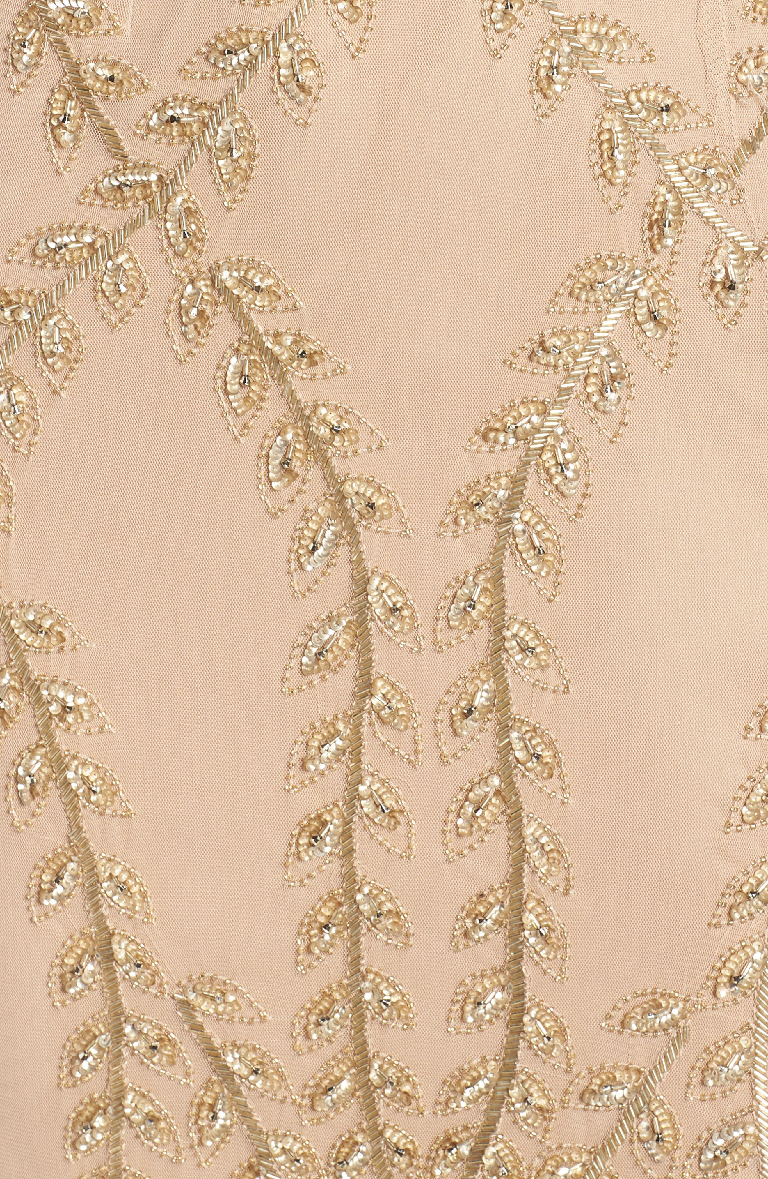 ADRIANNA PAPELL,                             Fern Beaded Gown,                             Alternate thumbnail 6, color,                             CHAMPAGNE/ GOLD
