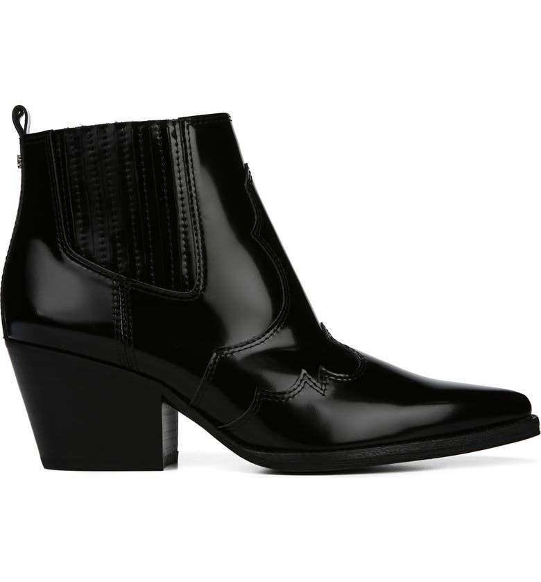 e51e3453b81e9 Sam Edelman Winona Glossed-Leather Ankle Boots In Black