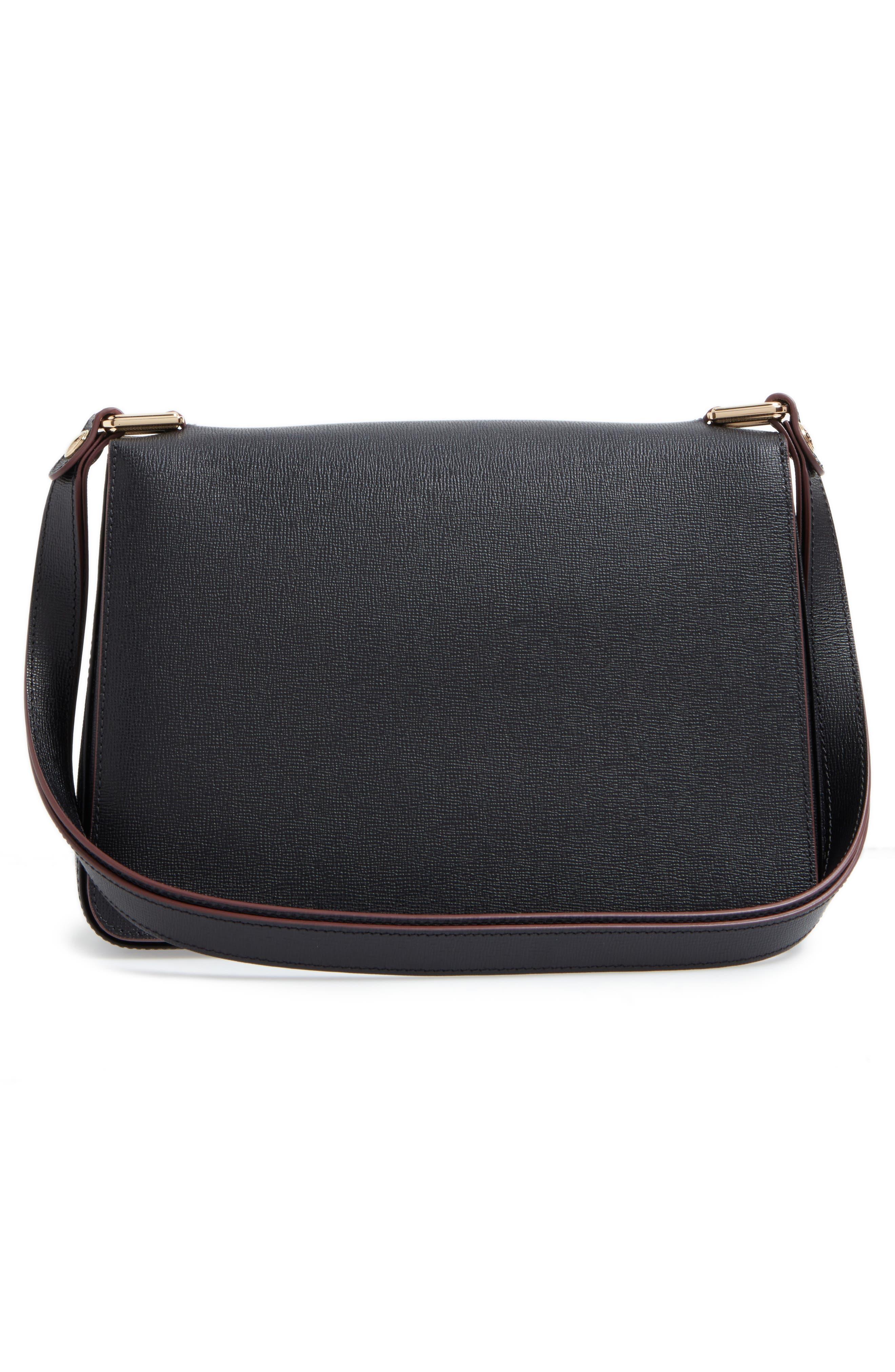 Pliage Heritage Leather Shoulder Bag,                             Alternate thumbnail 4, color,                             BLACK