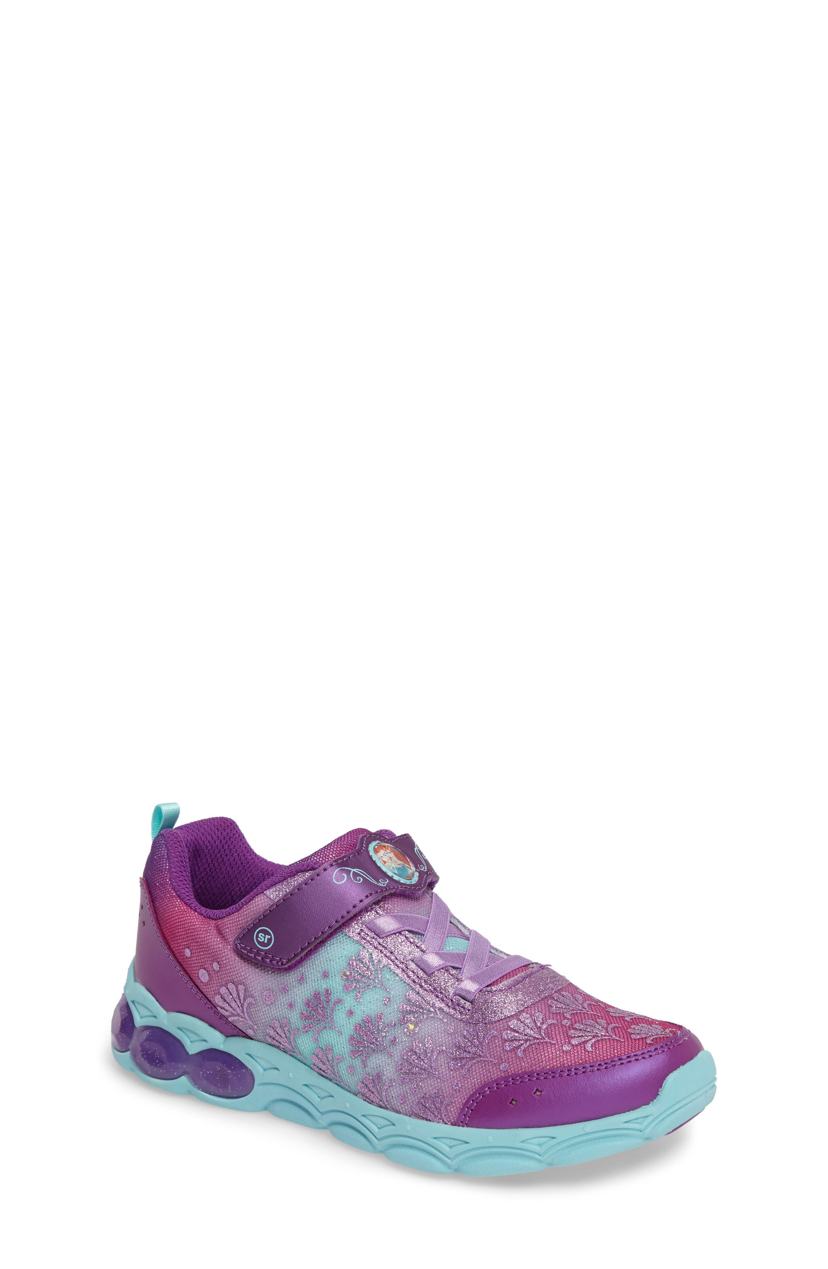 Disney<sup>®</sup> Ariel Ocean Adventurer Light-Up Sneaker,                             Main thumbnail 1, color,                             650