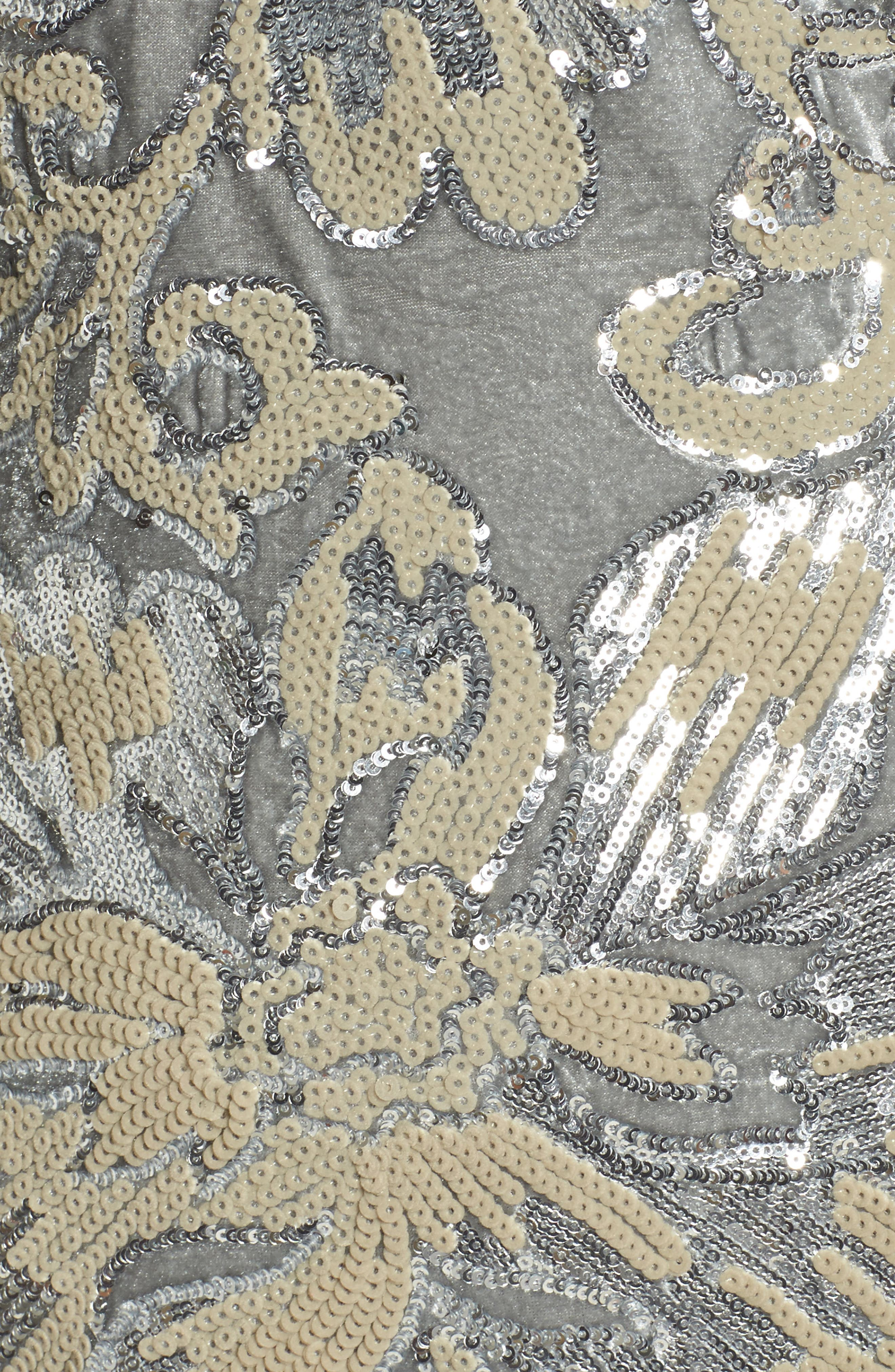 Sequin Embroidered Velvet Halter Gown,                             Alternate thumbnail 5, color,