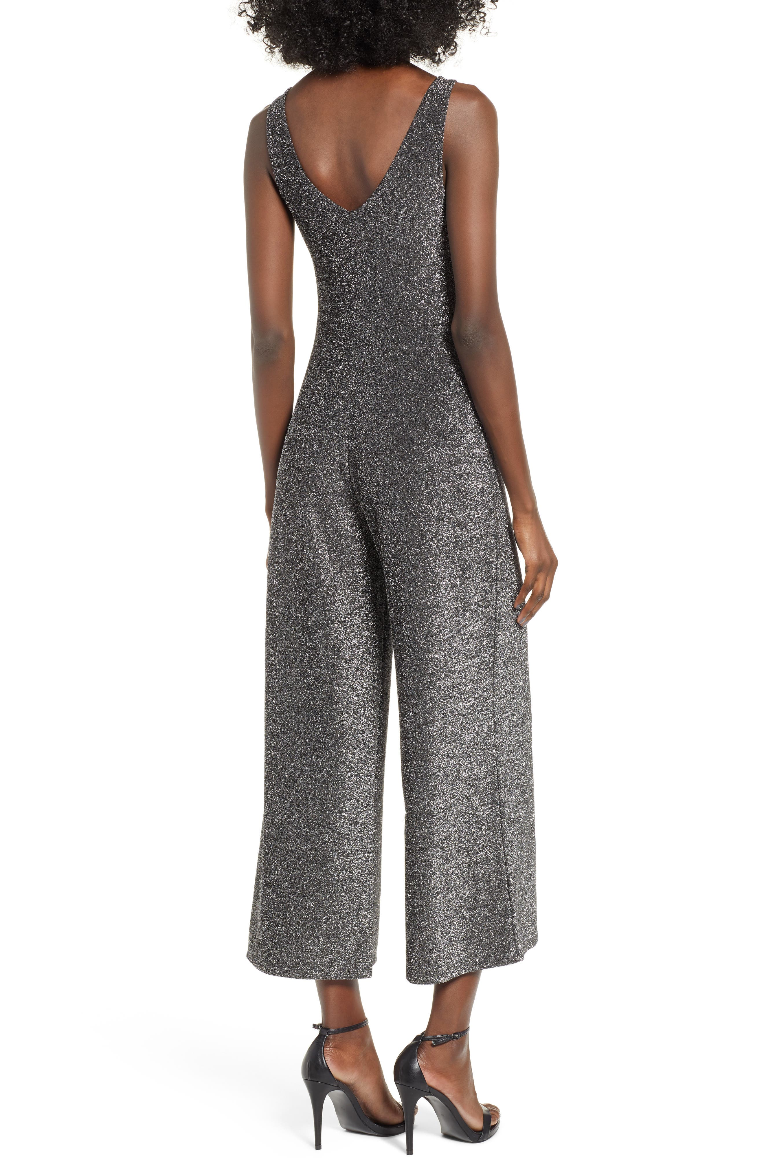 Night Out Metallic Jumpsuit,                             Alternate thumbnail 2, color,                             SILVER METALLIC