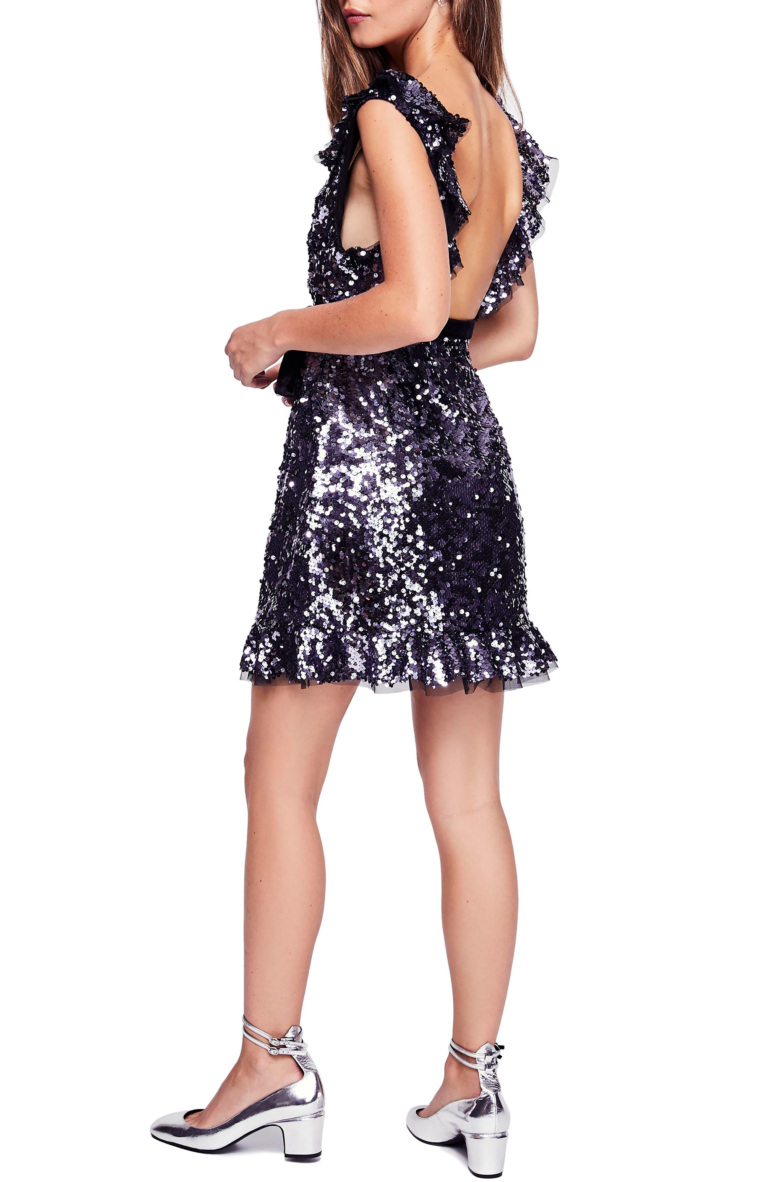Siren Sequin Dress,                             Alternate thumbnail 2, color,                             BLACK