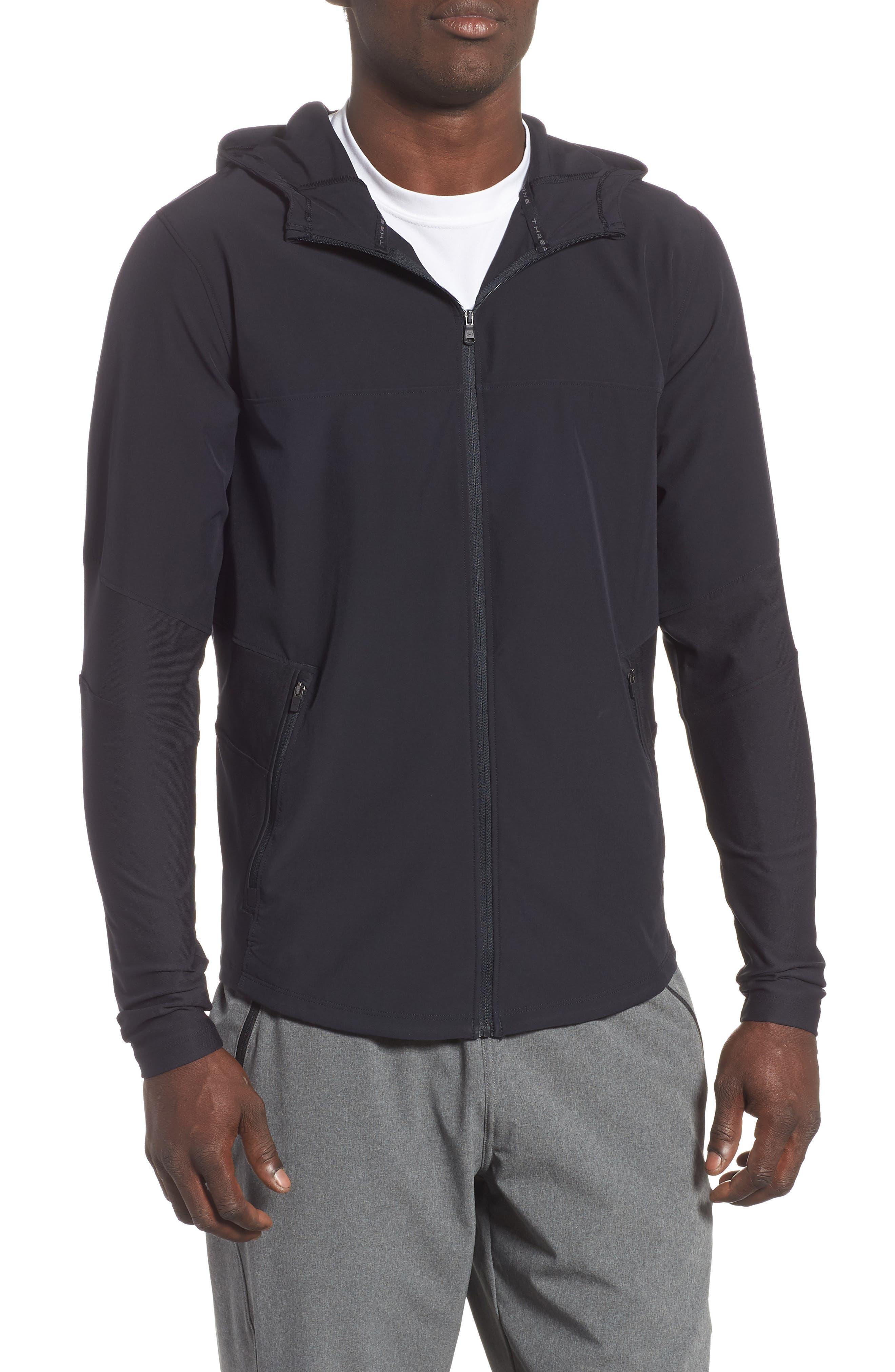 Threadborne Vanish Zip Hoodie,                         Main,                         color, BLACK