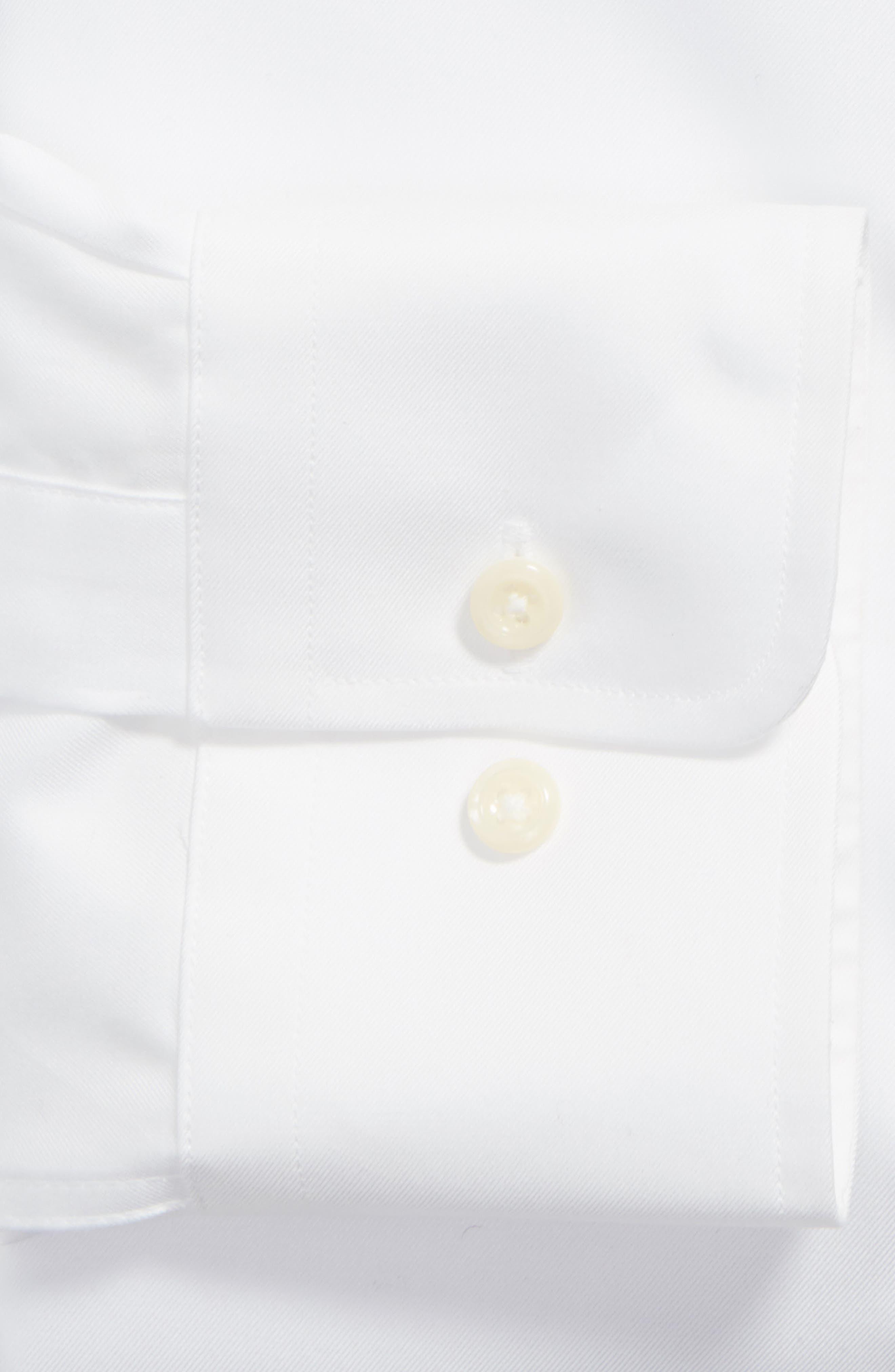 Slim Fit Solid Dress Shirt,                             Alternate thumbnail 4, color,                             WHITE