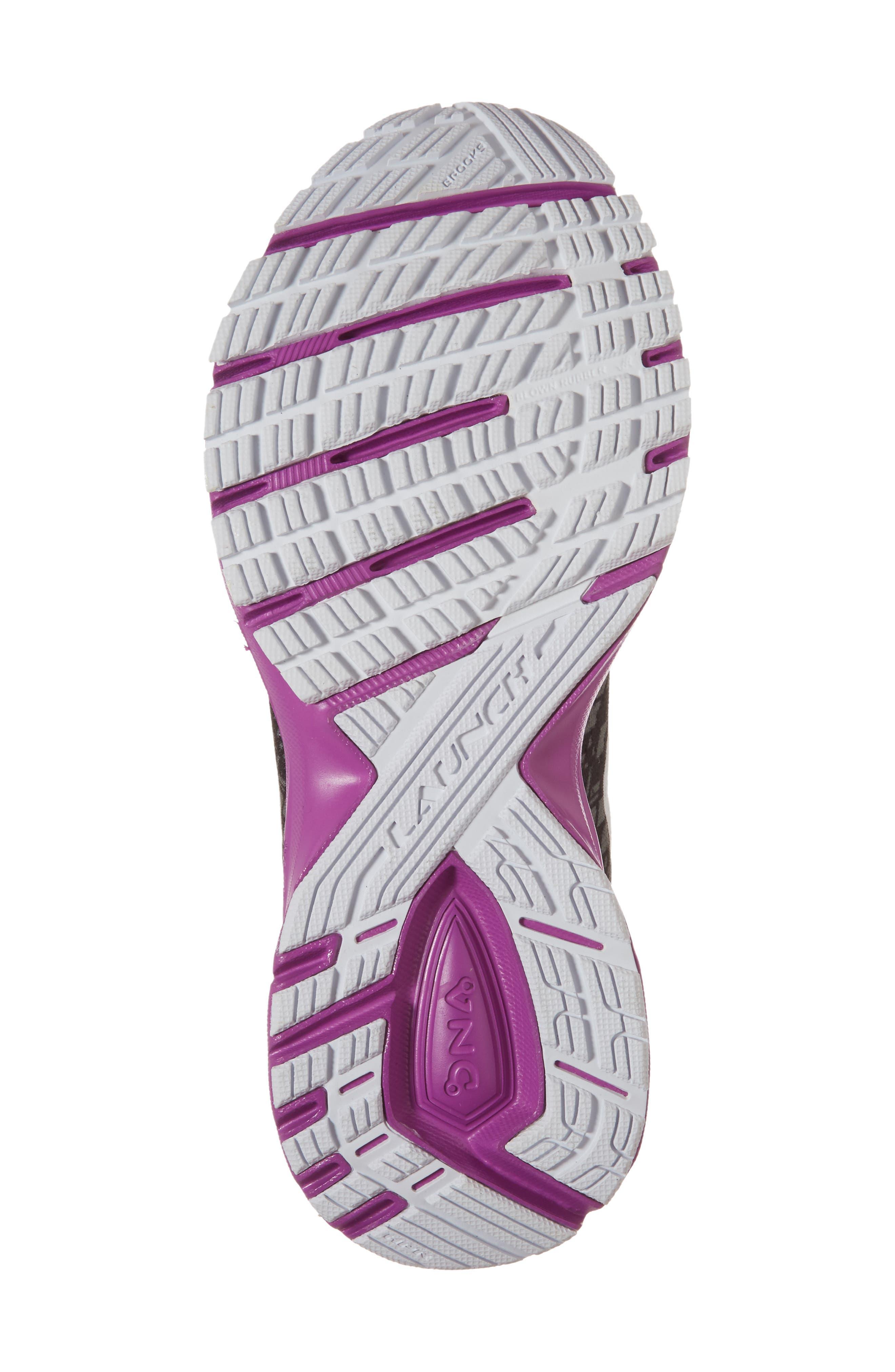 Launch 5 Running Shoe,                             Alternate thumbnail 6, color,                             BLACK/ PURPLE/ PRINT