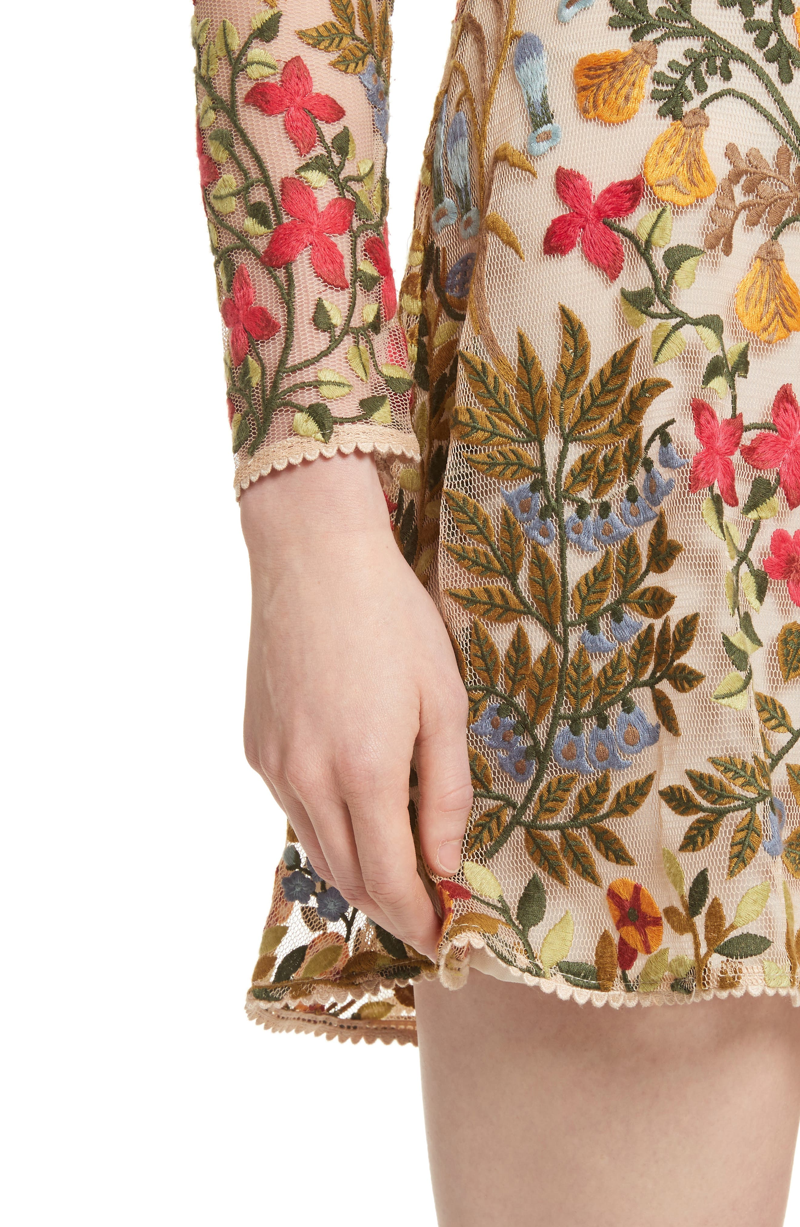 Floral Vine Embroidered Tulle Dress,                             Alternate thumbnail 4, color,