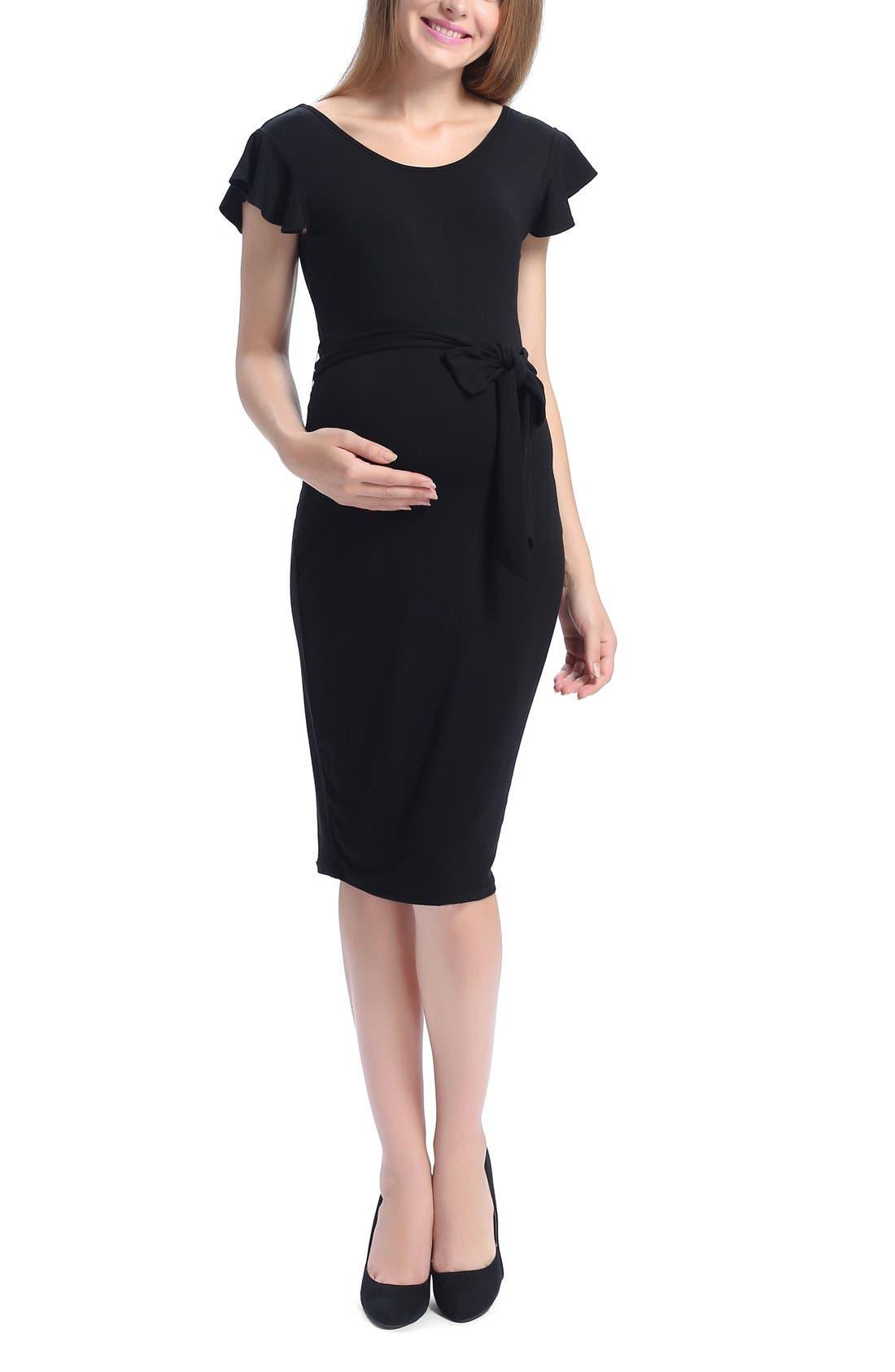 Lucile Ruffle Sleeve Maternity Dress,                             Main thumbnail 1, color,                             BLACK
