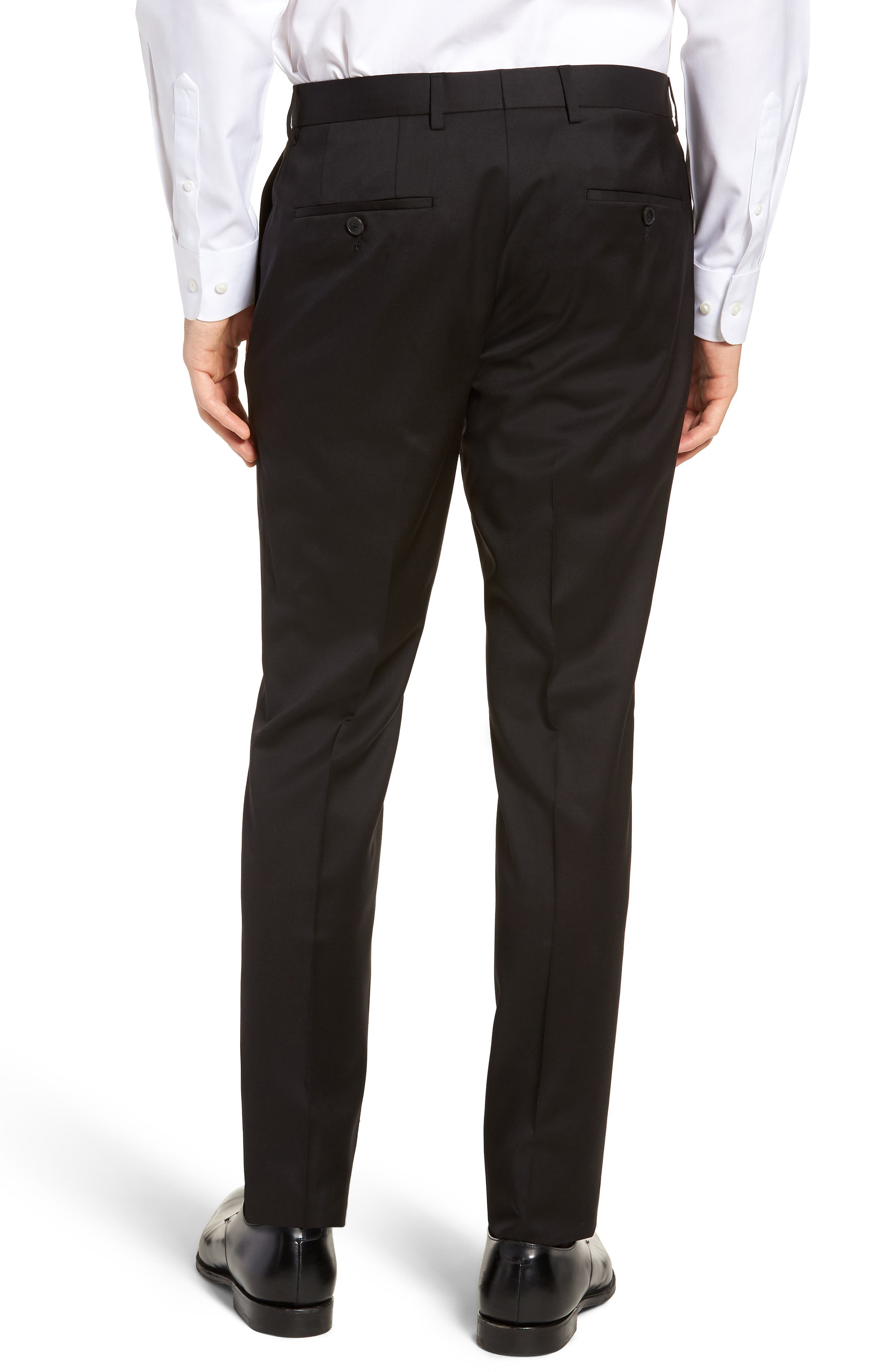 BOSS,                             Gibson CYL Flat Front Solid Wool Trousers,                             Alternate thumbnail 2, color,                             BLACK