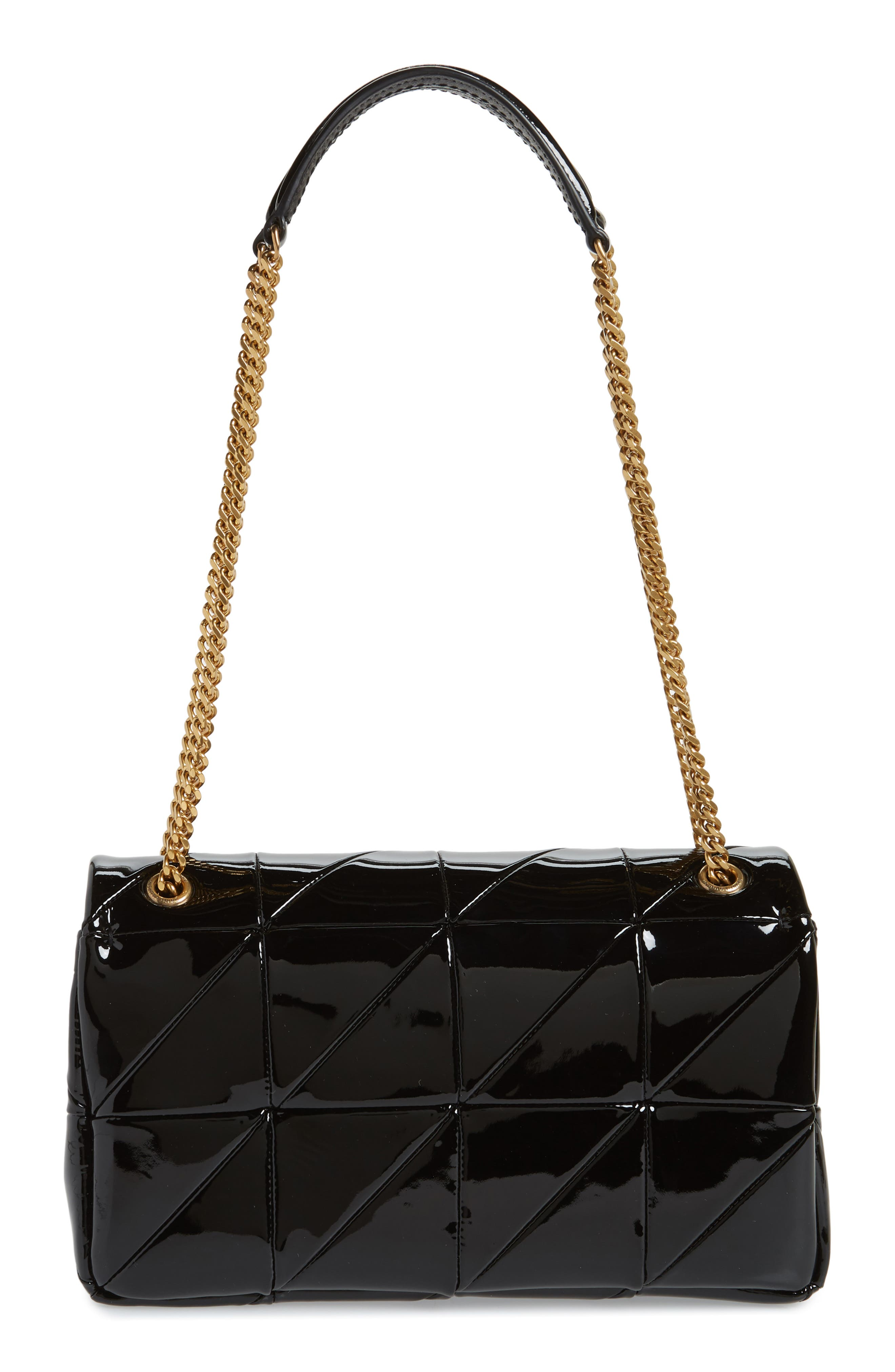 Jamie Patchwork Leather Shoulder Bag,                             Alternate thumbnail 3, color,                             NOIR