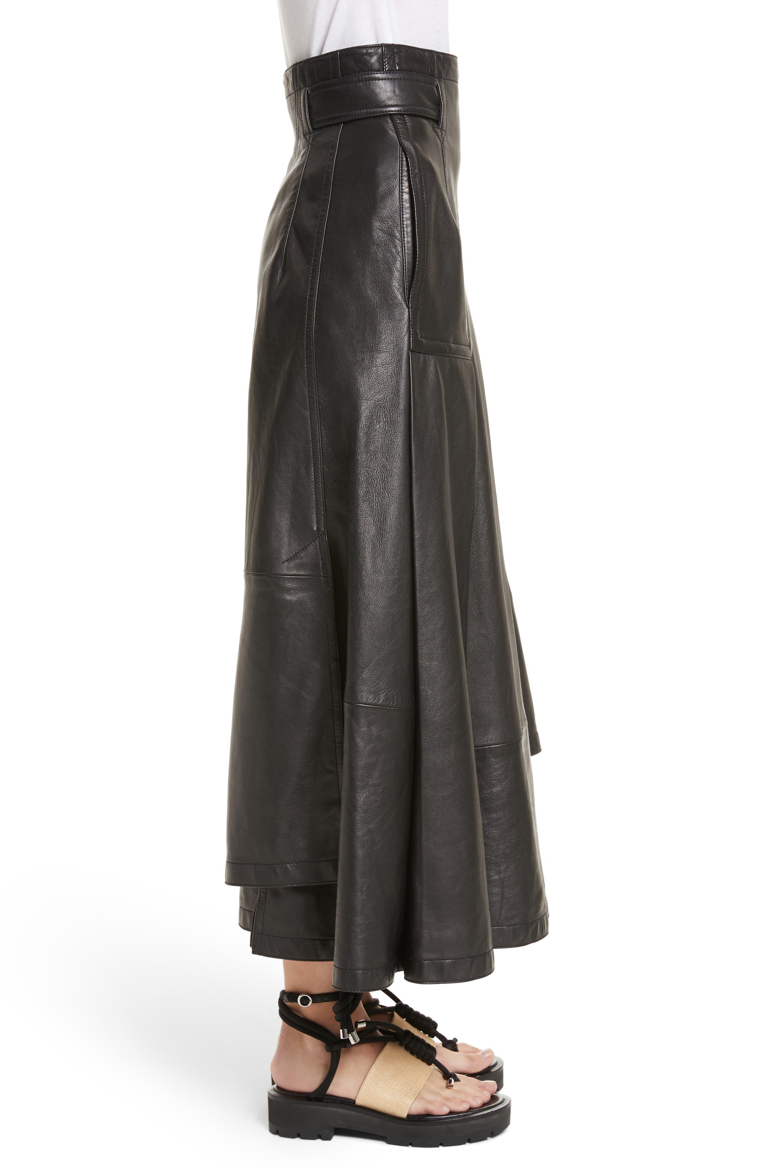 Leather Utility Skirt,                             Alternate thumbnail 3, color,                             001