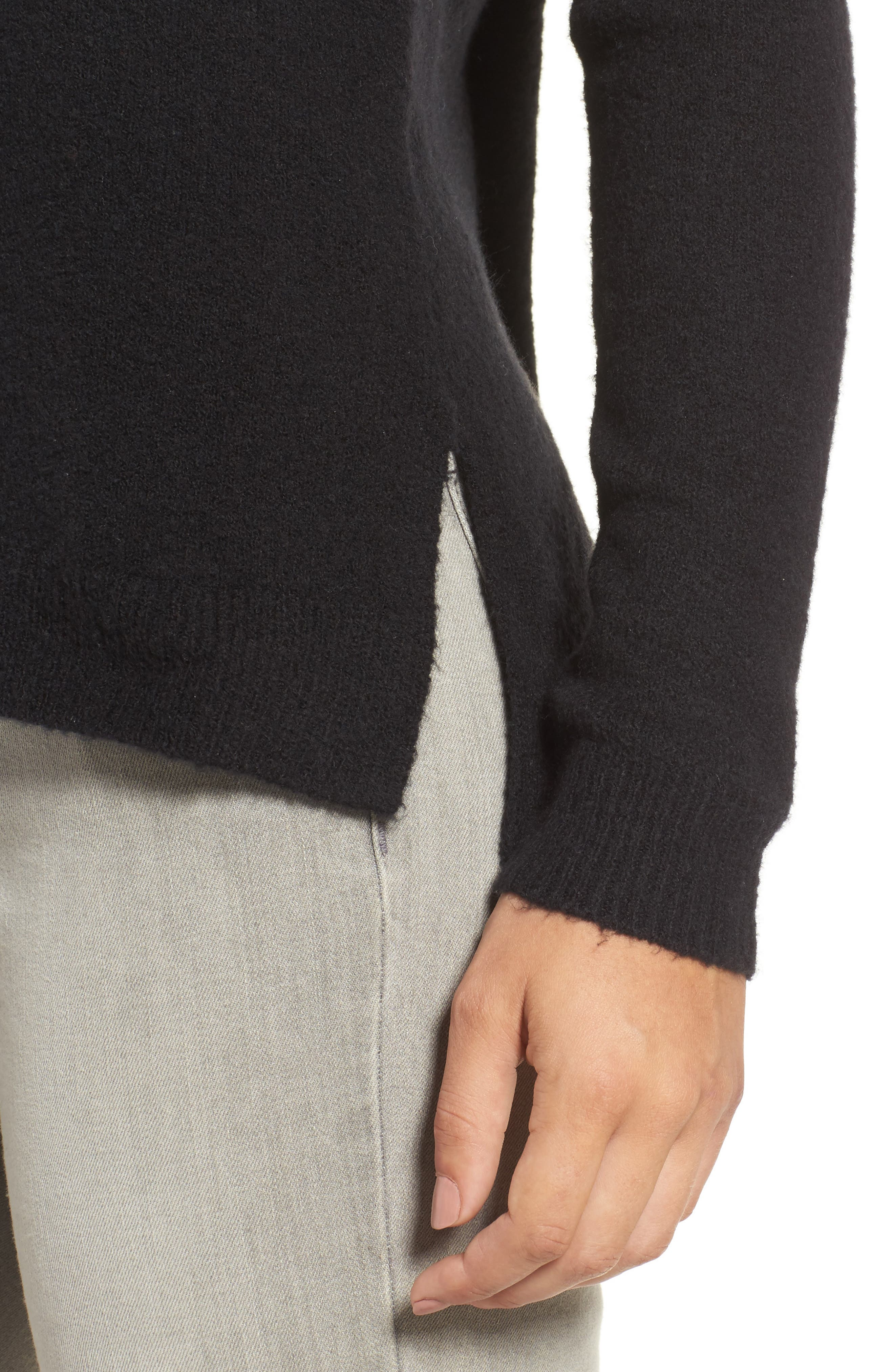 Back Zip High/Low Sweater,                             Alternate thumbnail 4, color,                             001