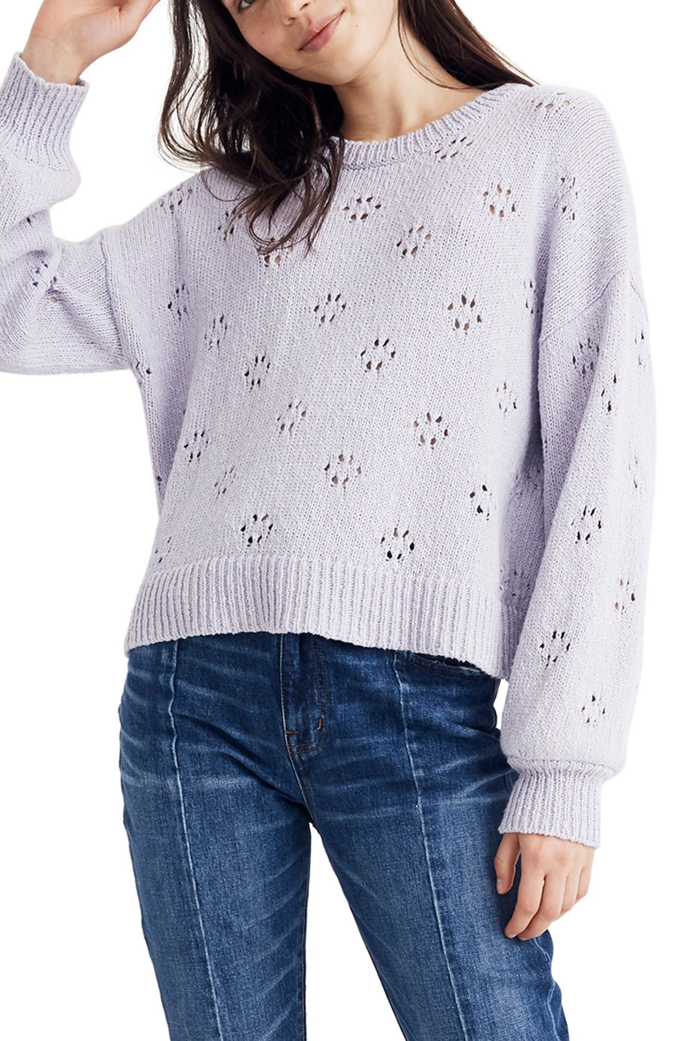 Floral Pointelle Pullover Sweater,                             Main thumbnail 1, color,                             SUNDRENCHED LILAC