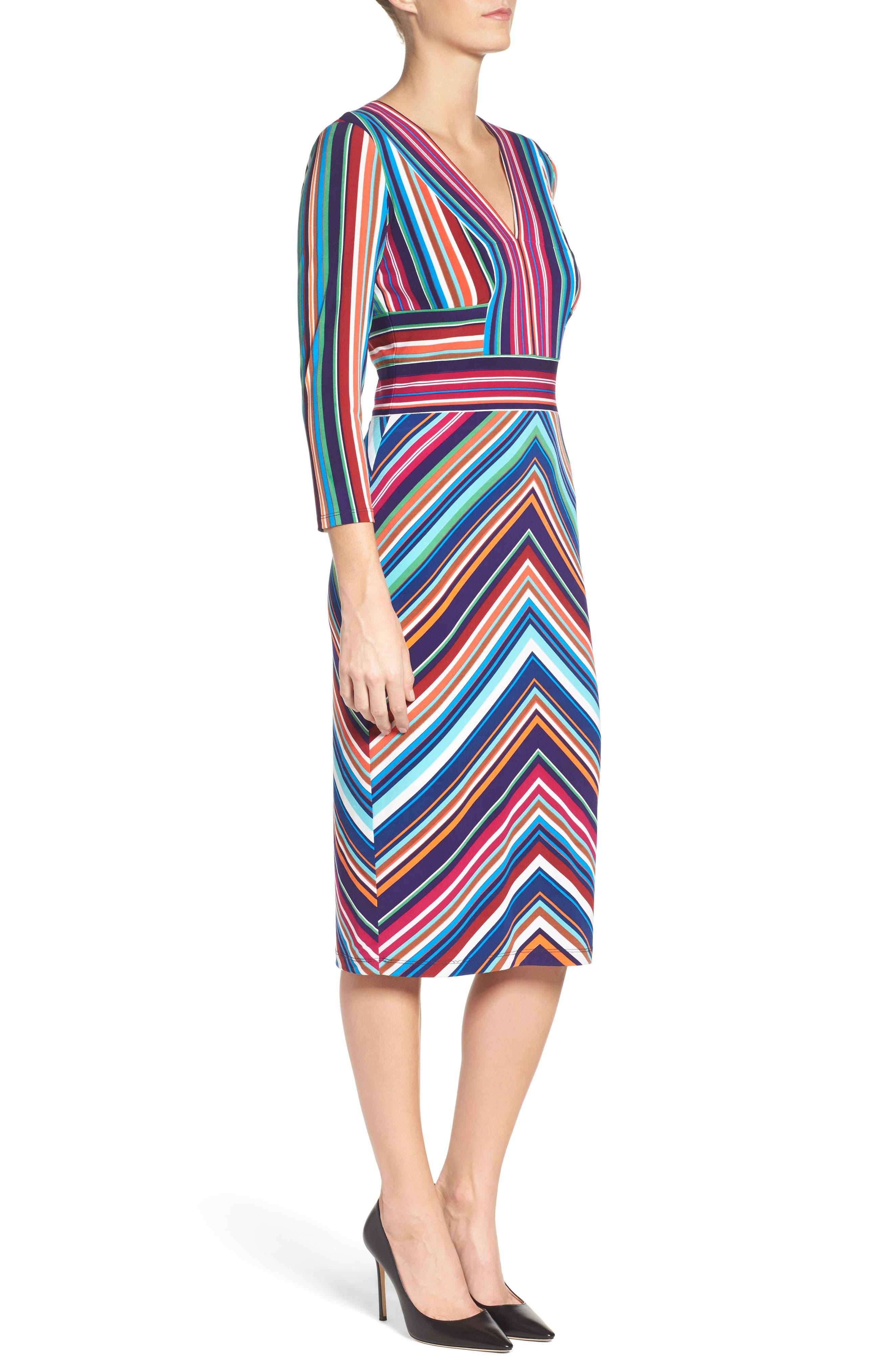 Stripe Midi Dress,                             Alternate thumbnail 3, color,                             415
