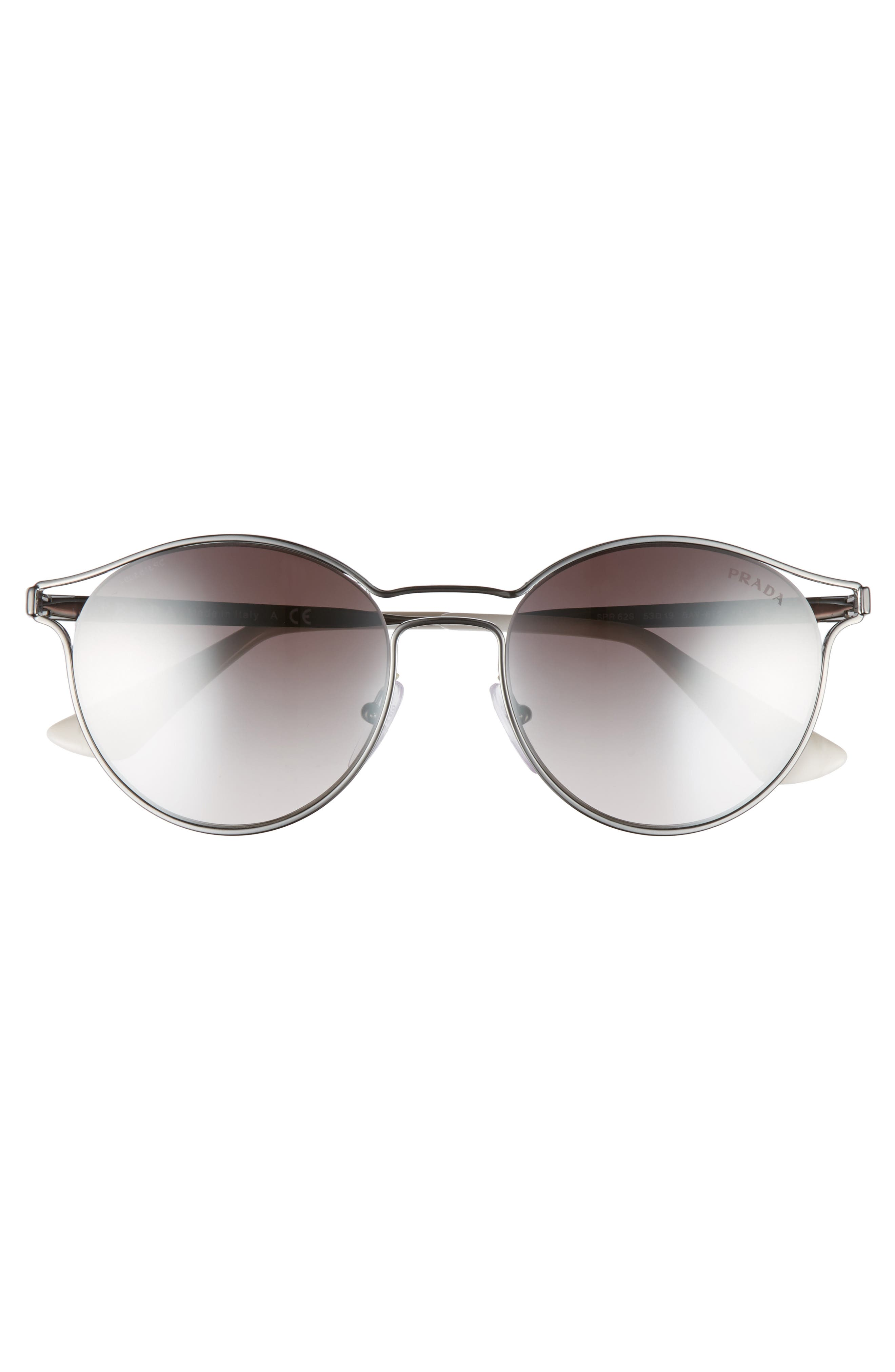 53mm Round Mirrored Sunglasses,                             Alternate thumbnail 4, color,                             062