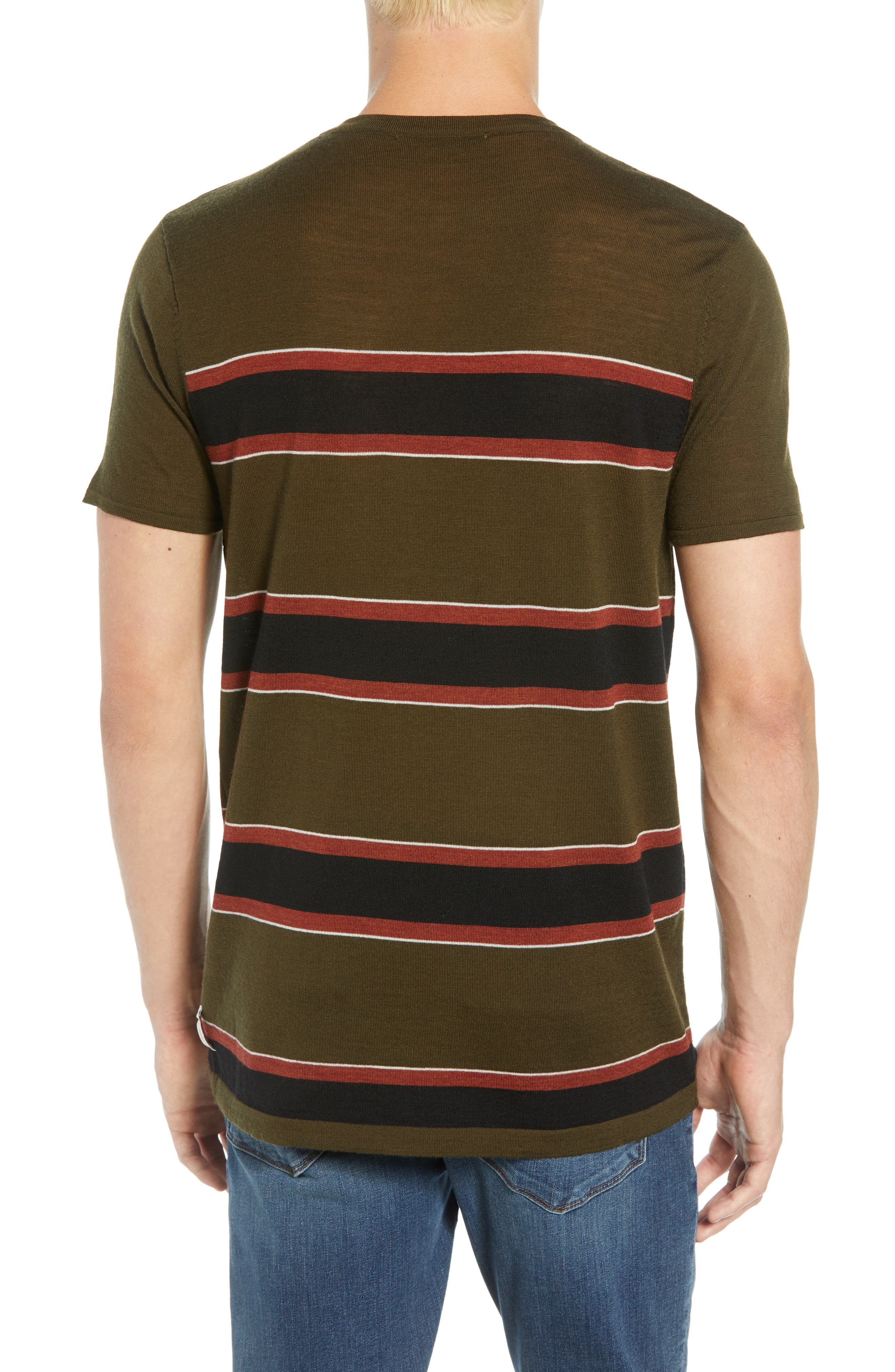 Stripe Merino Wool Pocket T-Shirt,                             Alternate thumbnail 2, color,                             COMBO B