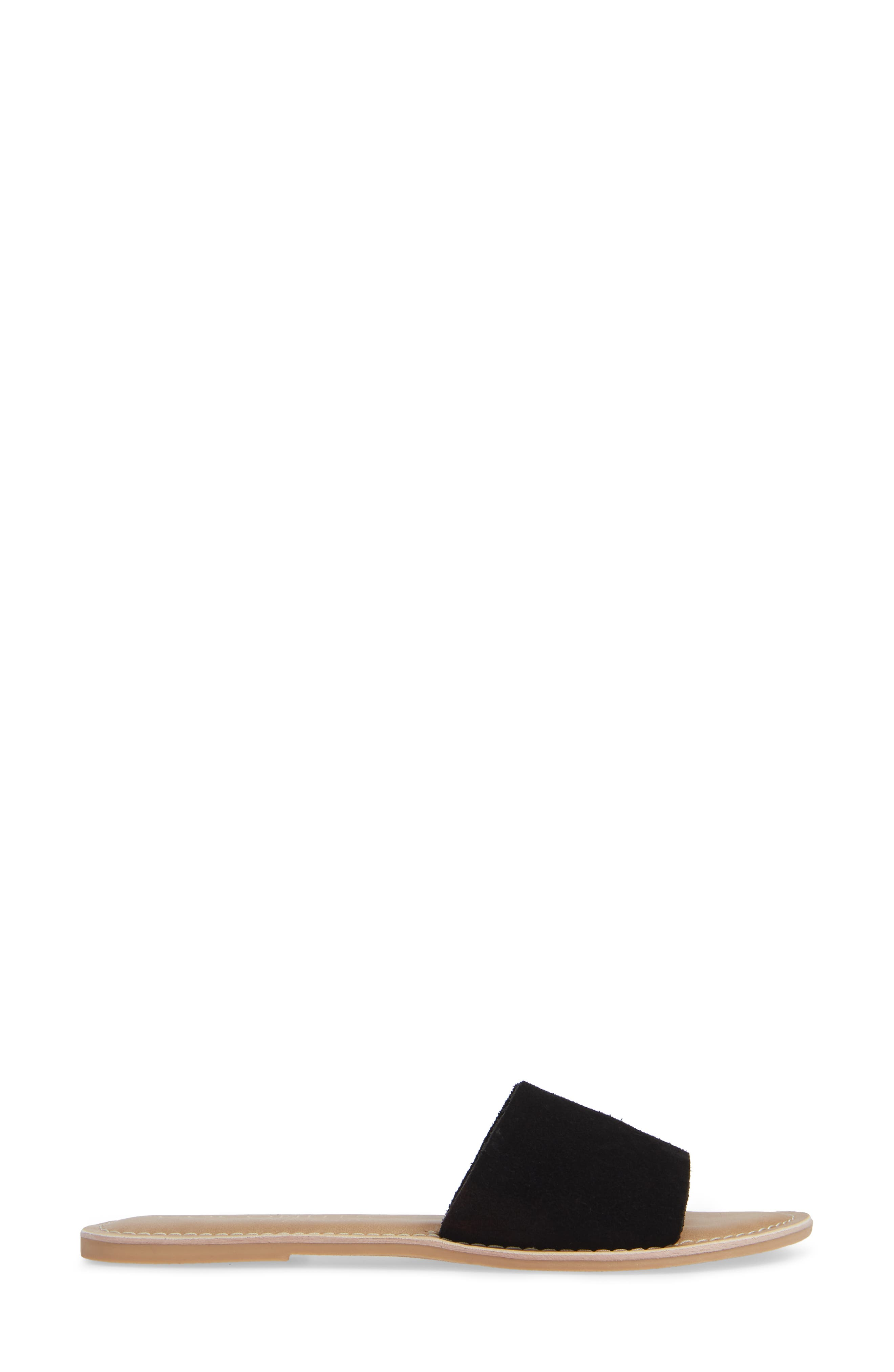 Cabana Slide Sandal,                             Alternate thumbnail 3, color,                             BLACK SUEDE