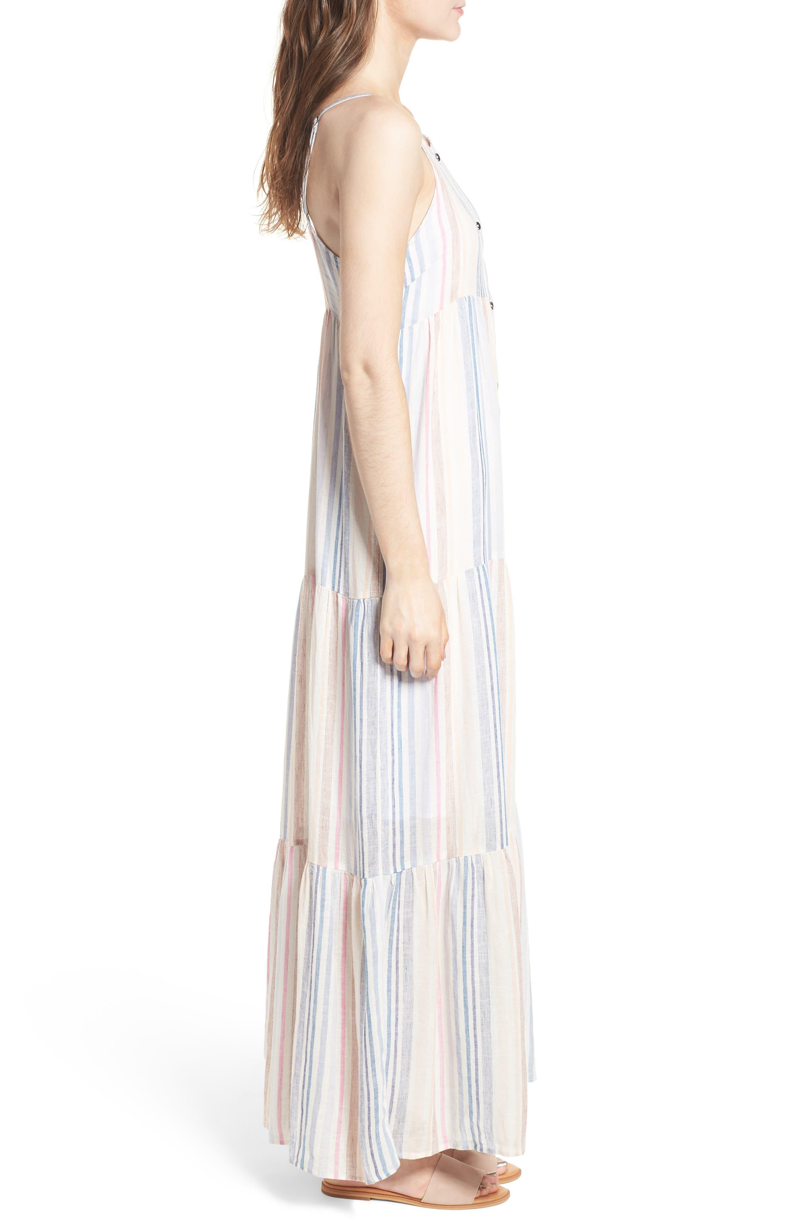 Multistripe Linen Maxi Dress,                             Alternate thumbnail 3, color,                             400