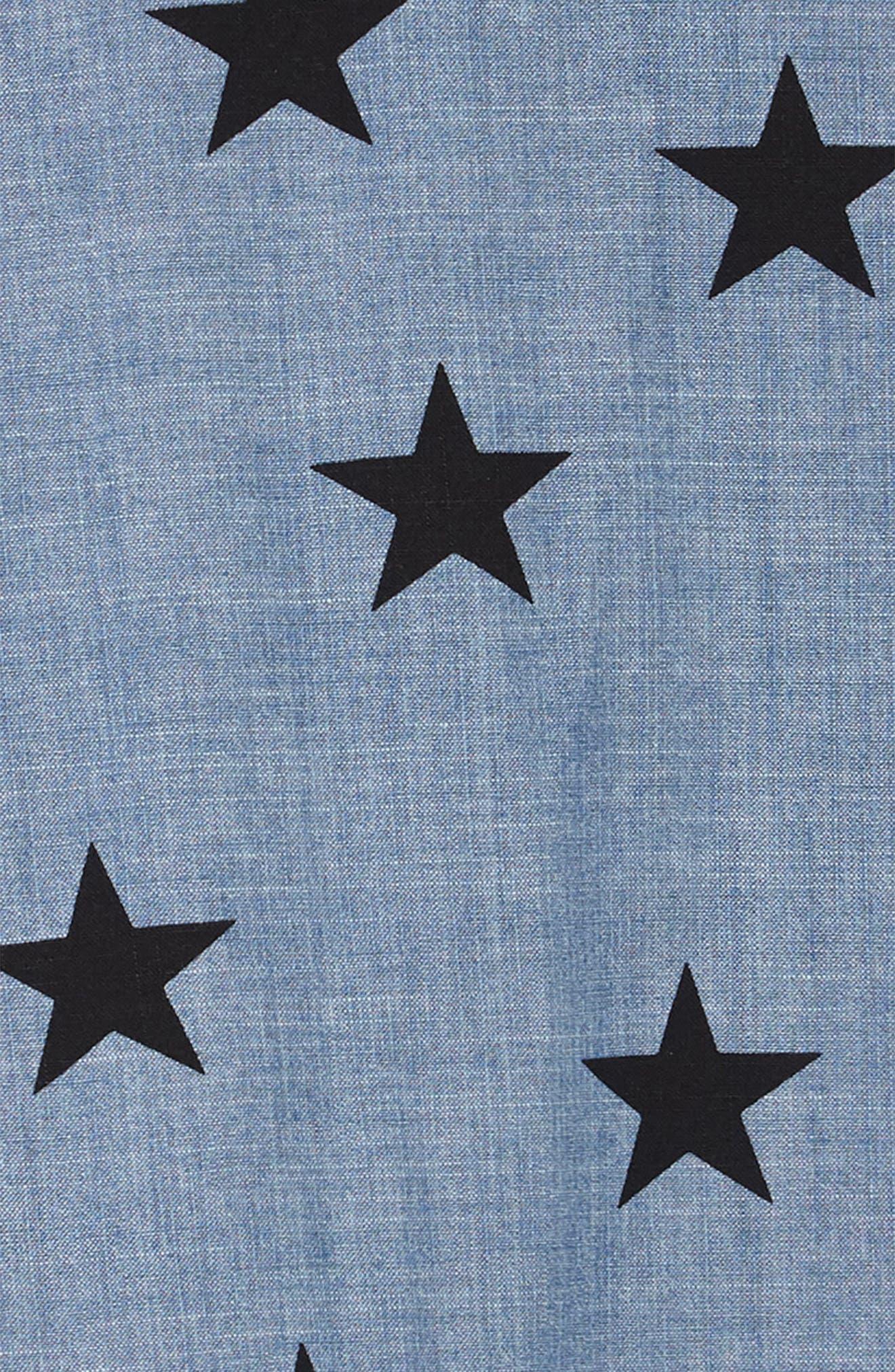 Star Print Chambray Dress,                             Alternate thumbnail 3, color,                             CHAMBRAY