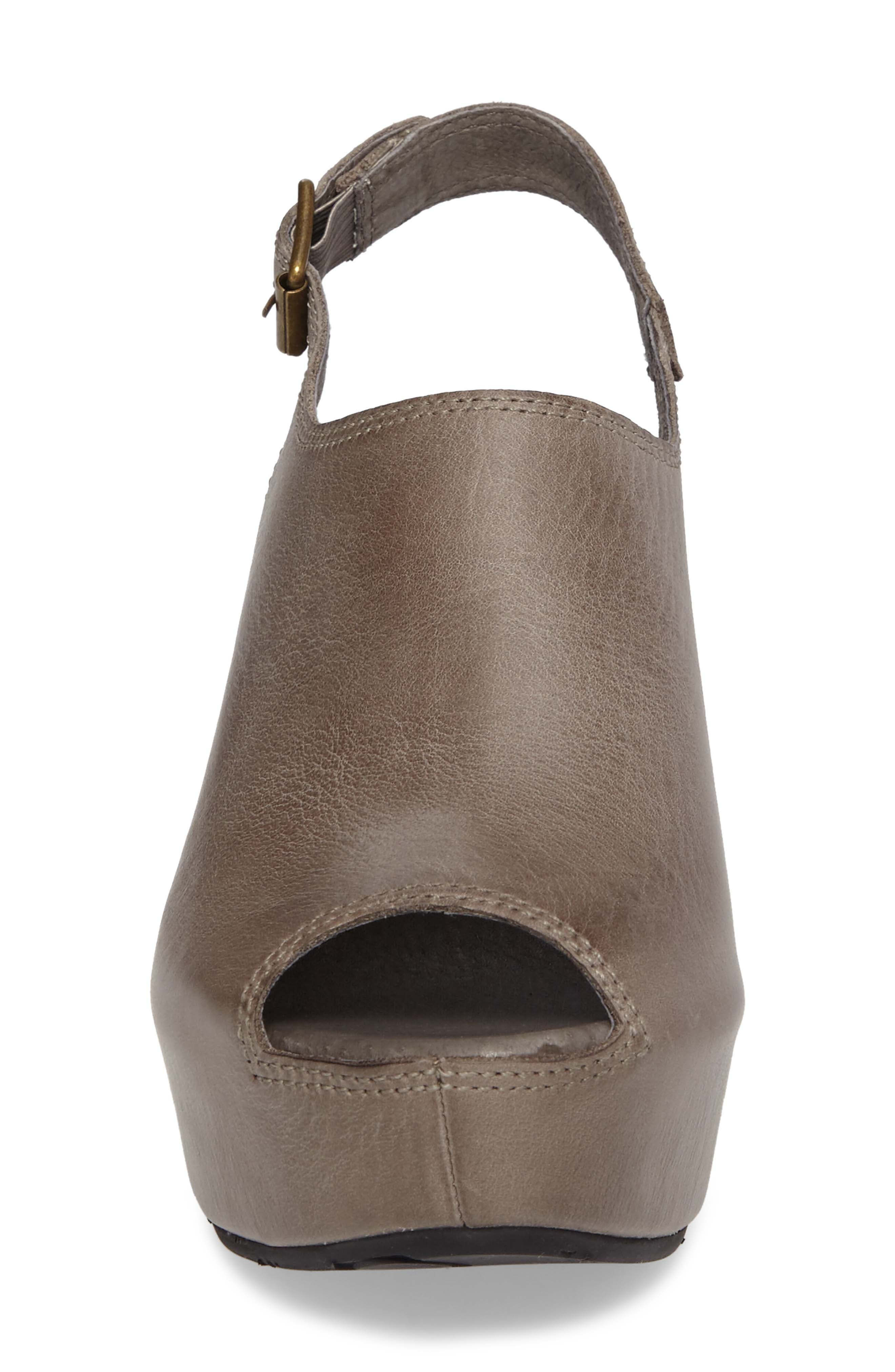 Willow Slingback Wedge,                             Alternate thumbnail 4, color,                             GRAPHITE LEATHER