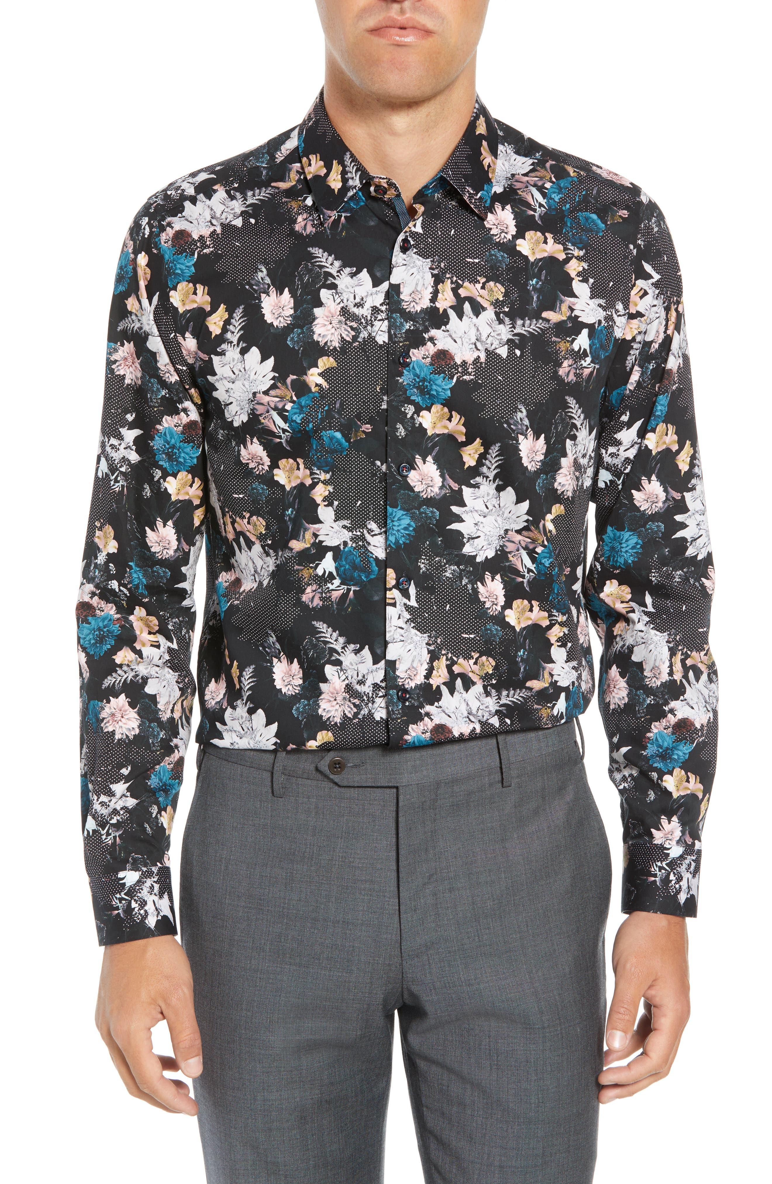 Rhubarb Modern Fit Floral Dress Shirt,                         Main,                         color, BLACK