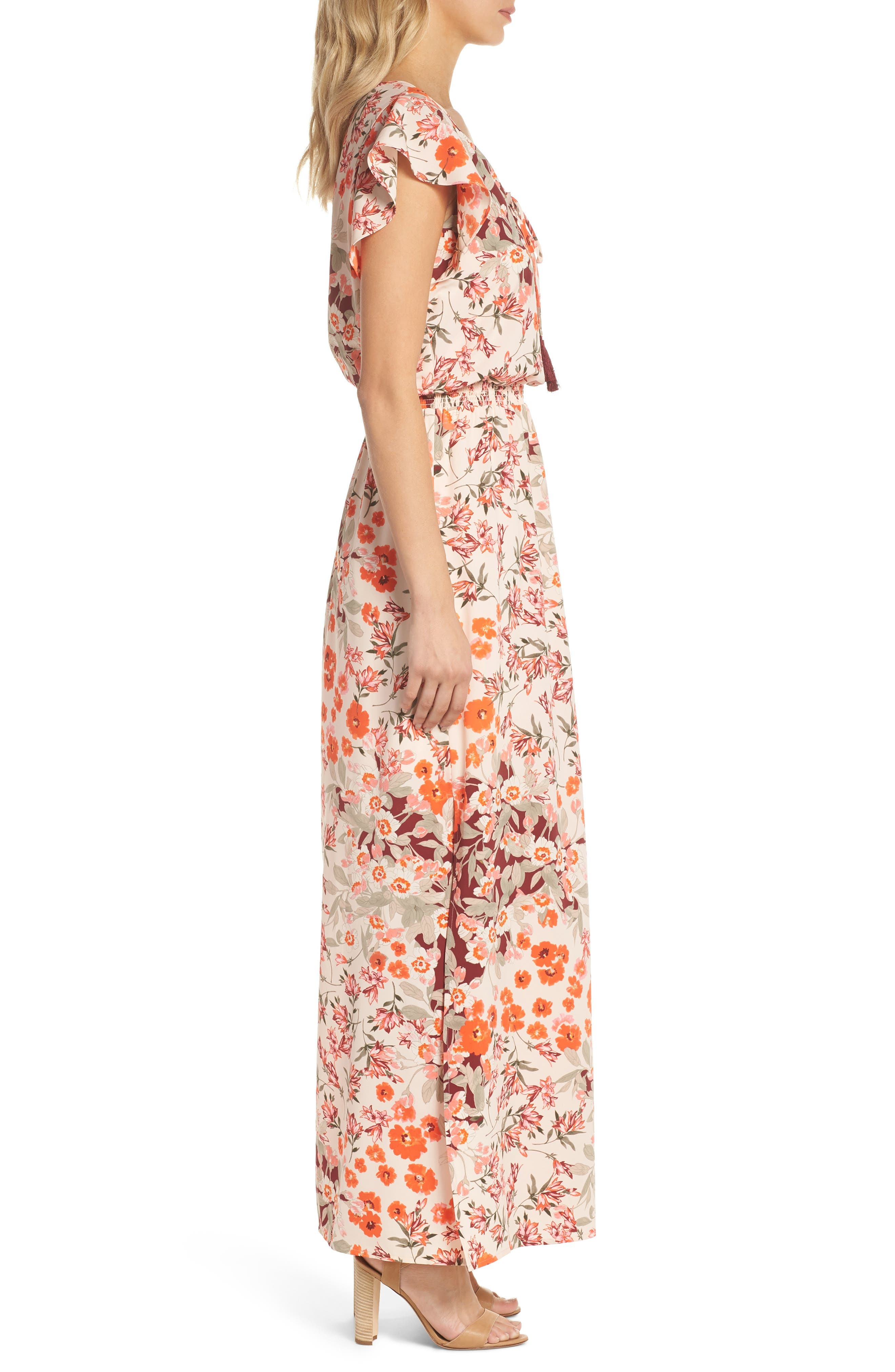 Floral Ruffle Sleeve Maxi Dress,                             Alternate thumbnail 3, color,                             640