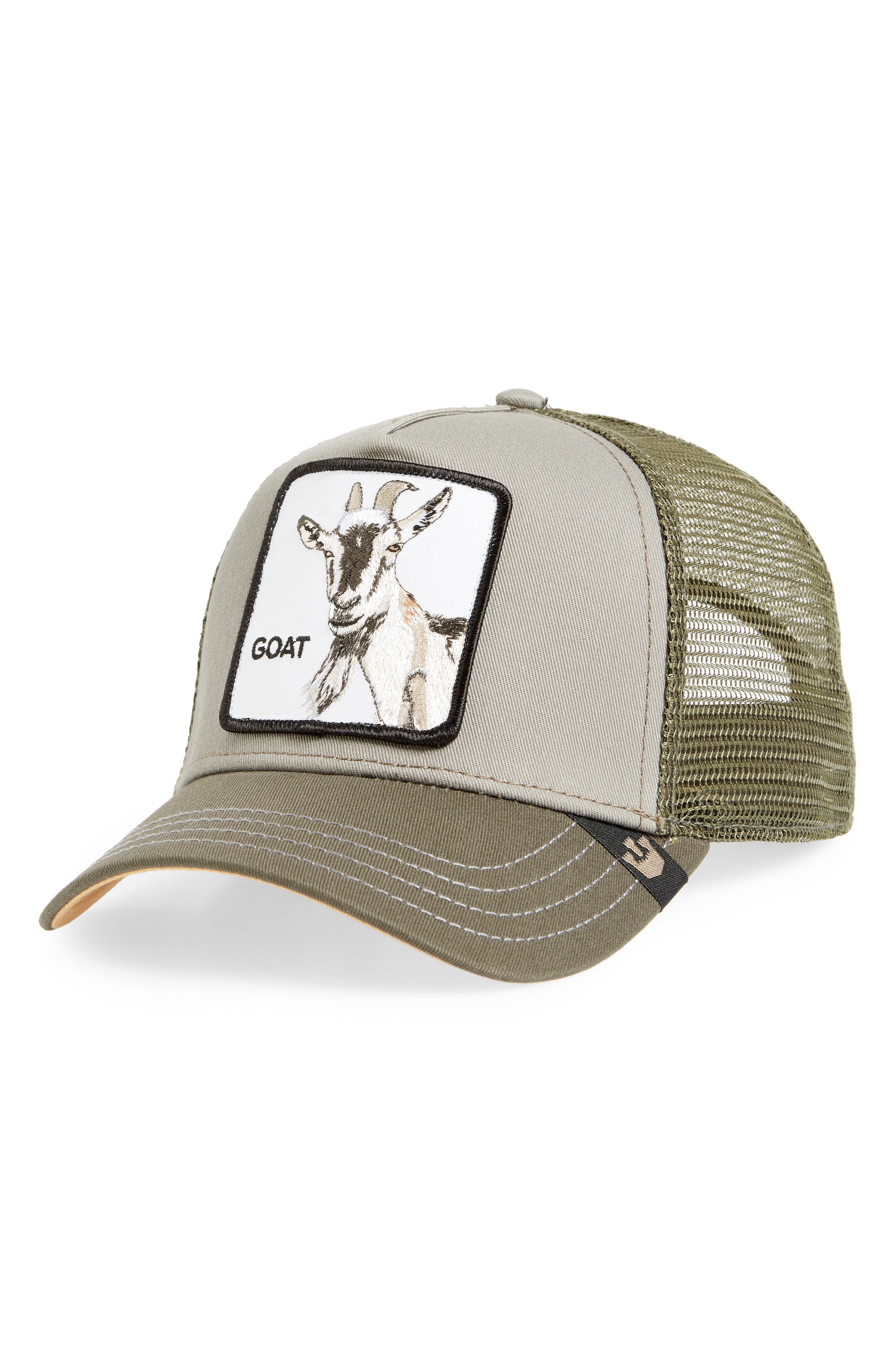 Goat Beard Trucker Hat,                             Main thumbnail 1, color,                             OLIVE