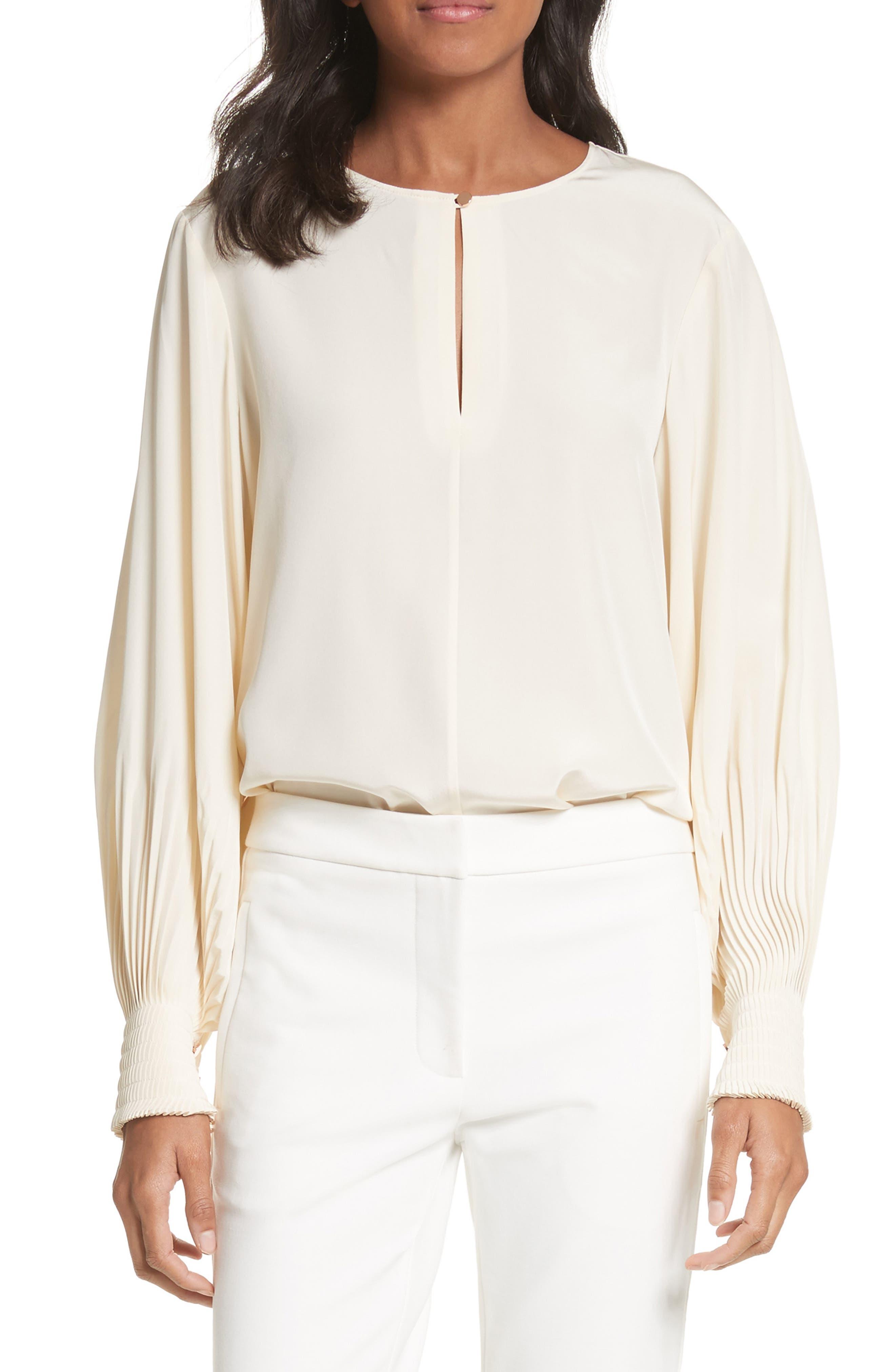 Balloon Sleeve Silk Top,                         Main,                         color,