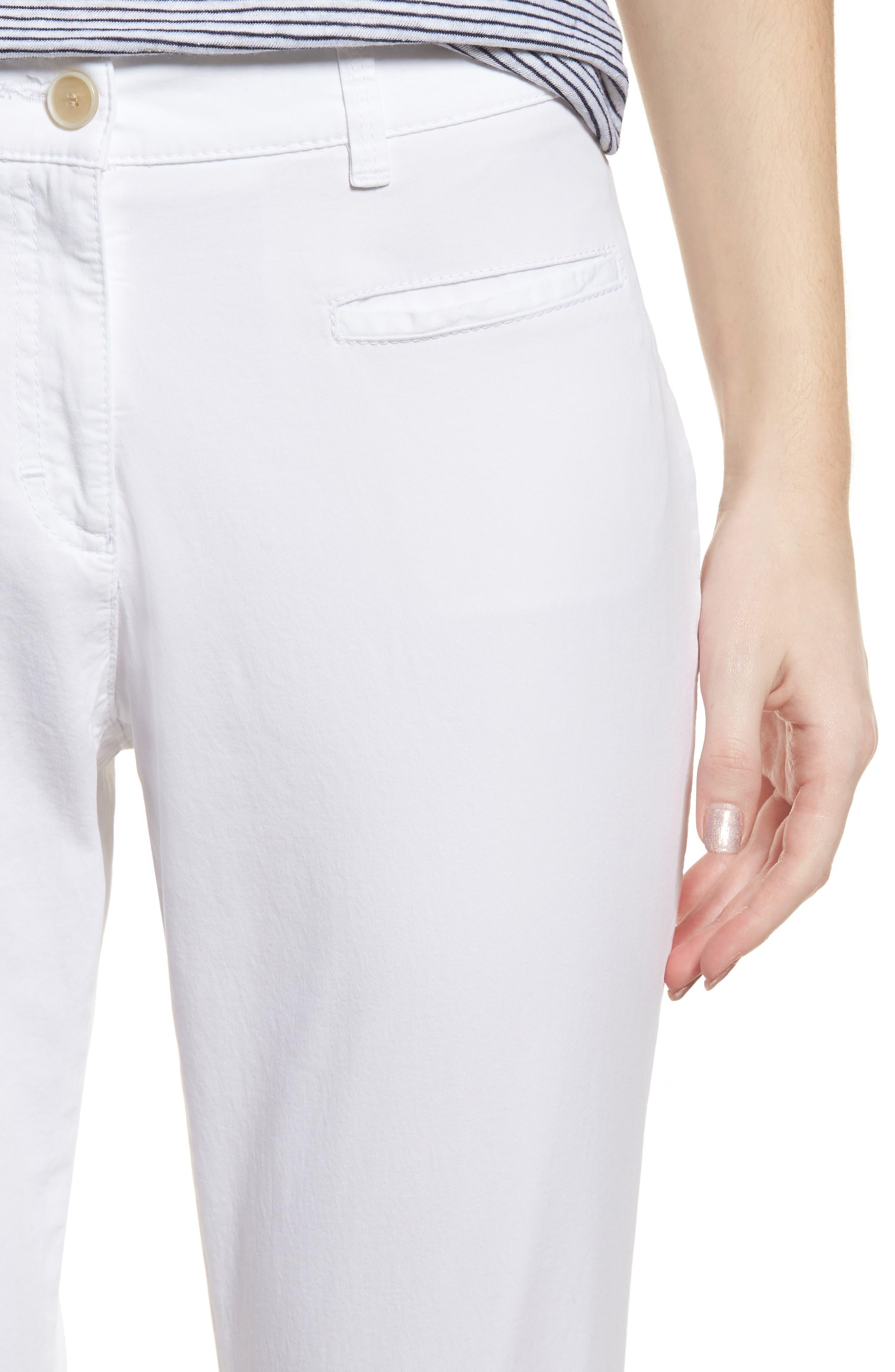 Sunny Stretch Cotton Slit Hem Pants,                             Alternate thumbnail 4, color,                             199