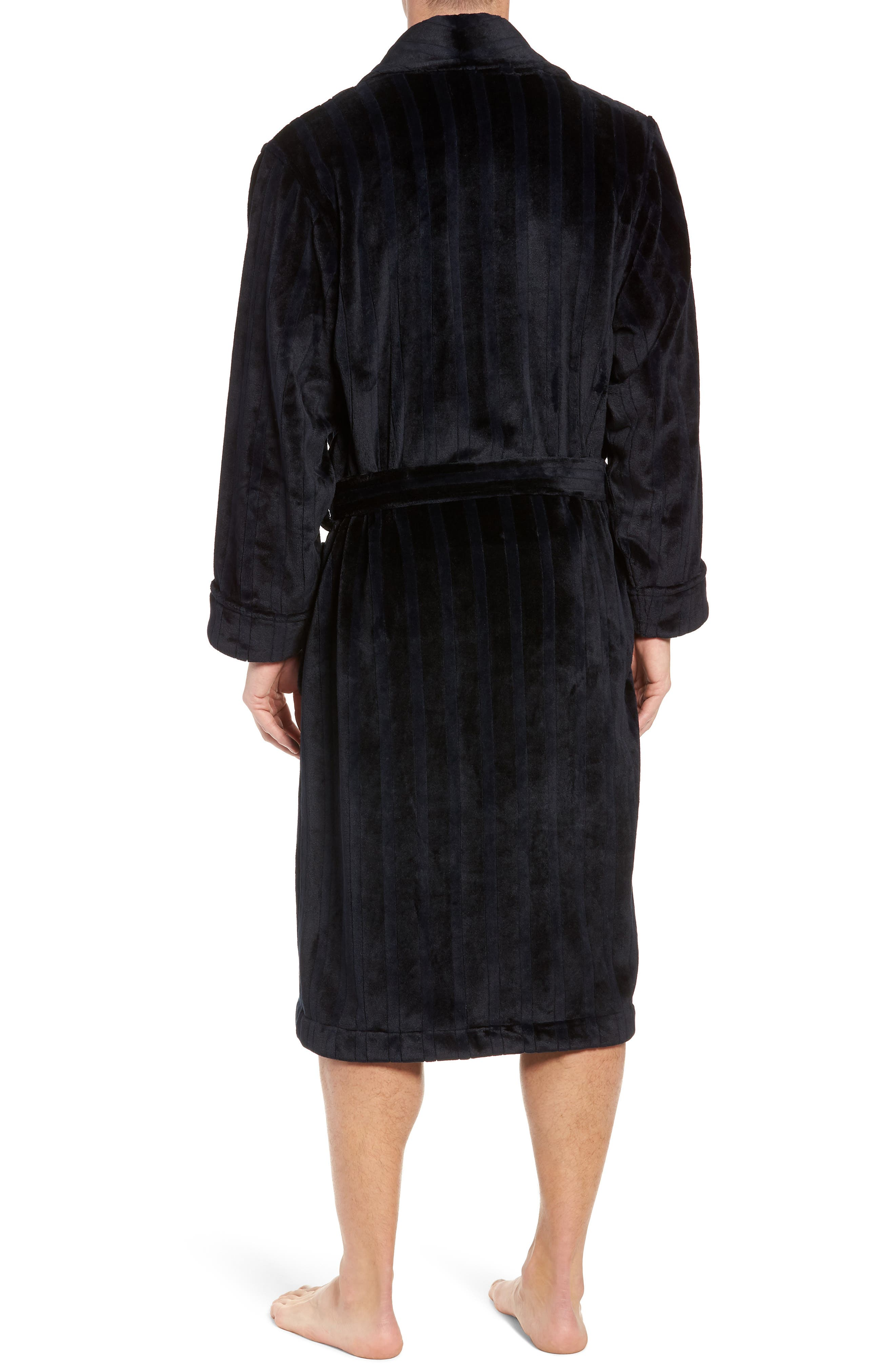 Vertical Stripe Fleece Robe,                             Alternate thumbnail 2, color,                             BLACK VERTICAL TONAL STRIPE