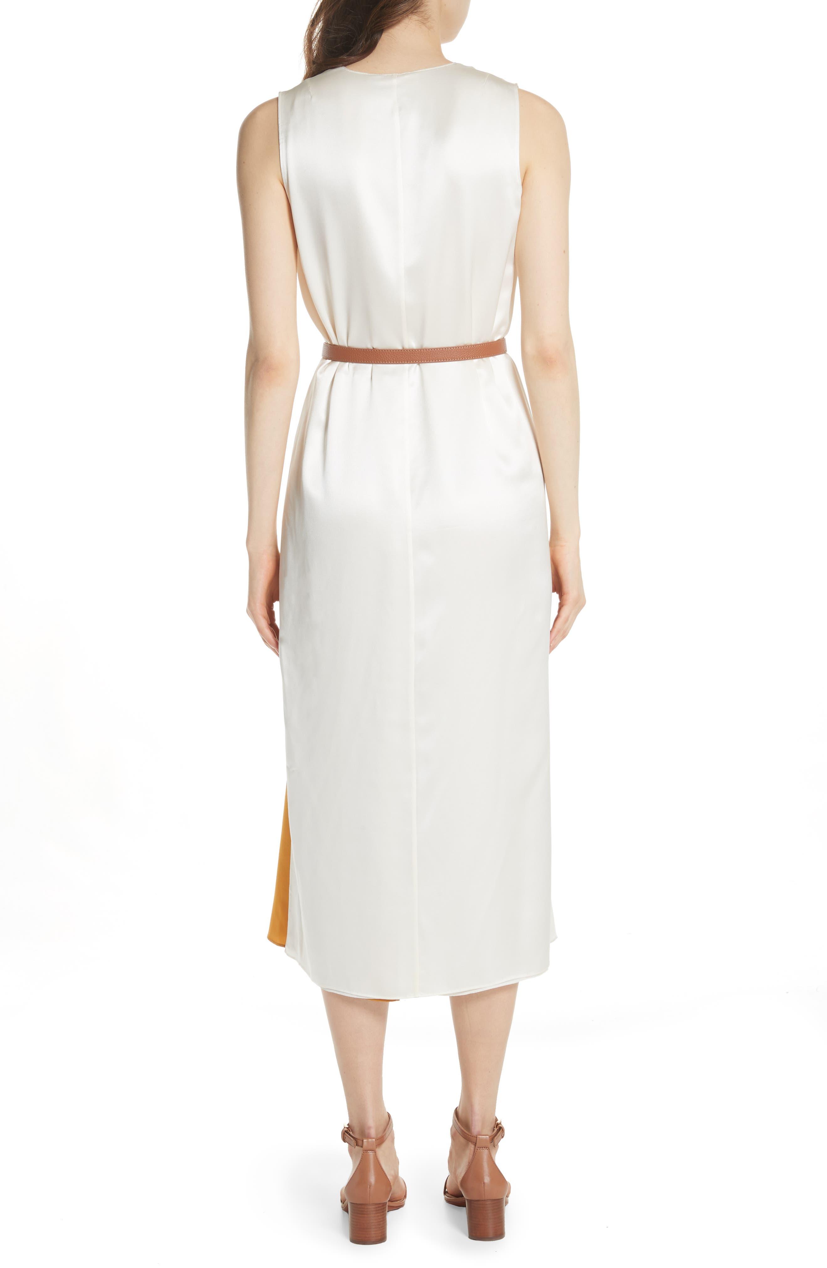 Clarice Colorblock Silk Wrap Dress,                             Alternate thumbnail 2, color,                             001