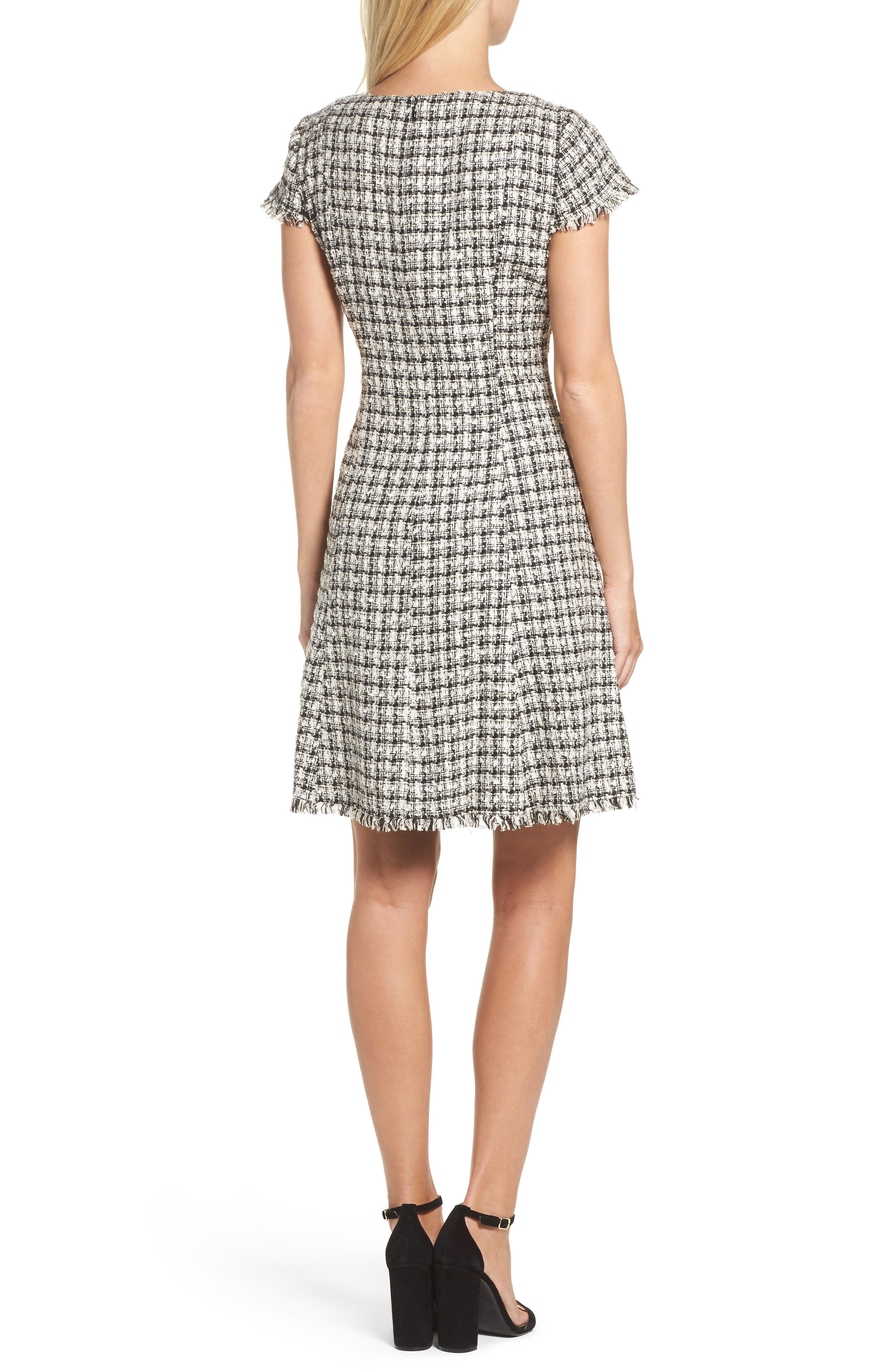 Houndstooth Fit & Flare Dress,                             Alternate thumbnail 2, color,                             901