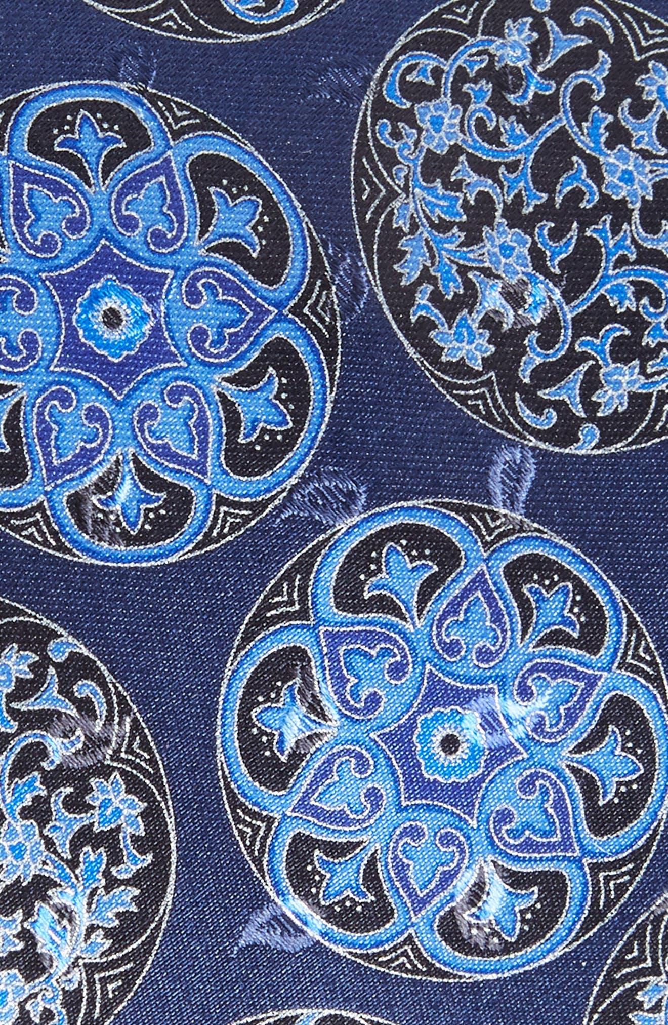 Medallion Silk Tie,                             Alternate thumbnail 2, color,                             NAVY FAN