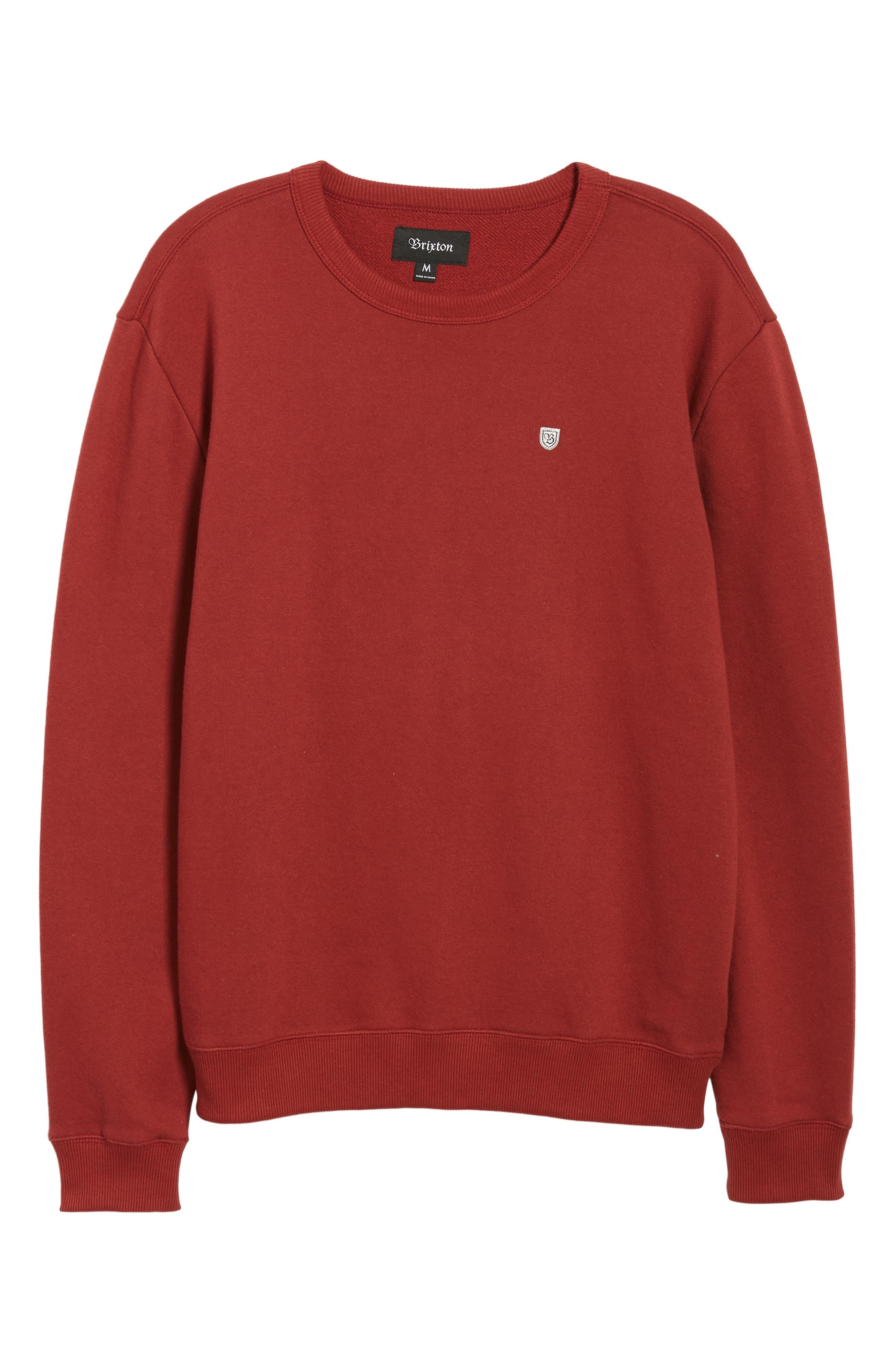 B-Shield Appliqué Crewneck Sweatshirt,                             Alternate thumbnail 6, color,                             RED