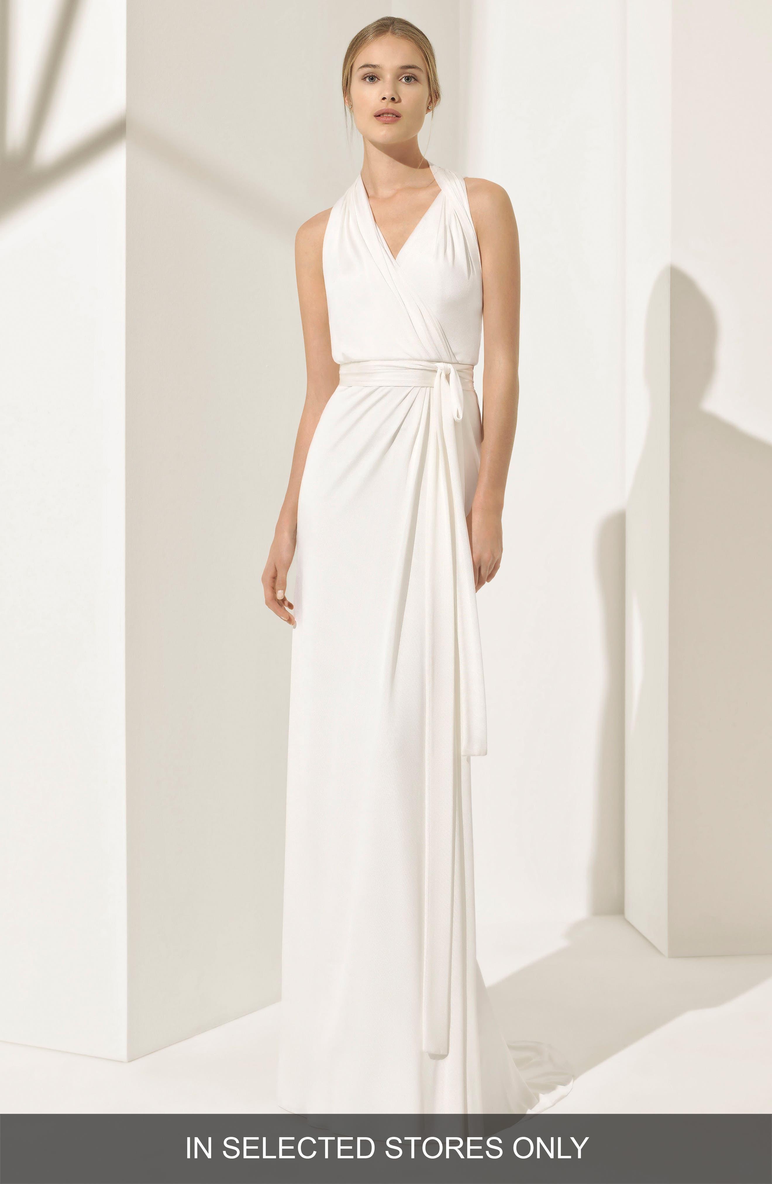 Rosa Clará Couture Pamela Silk Knit Column Gown,                             Main thumbnail 1, color,                             NATURAL