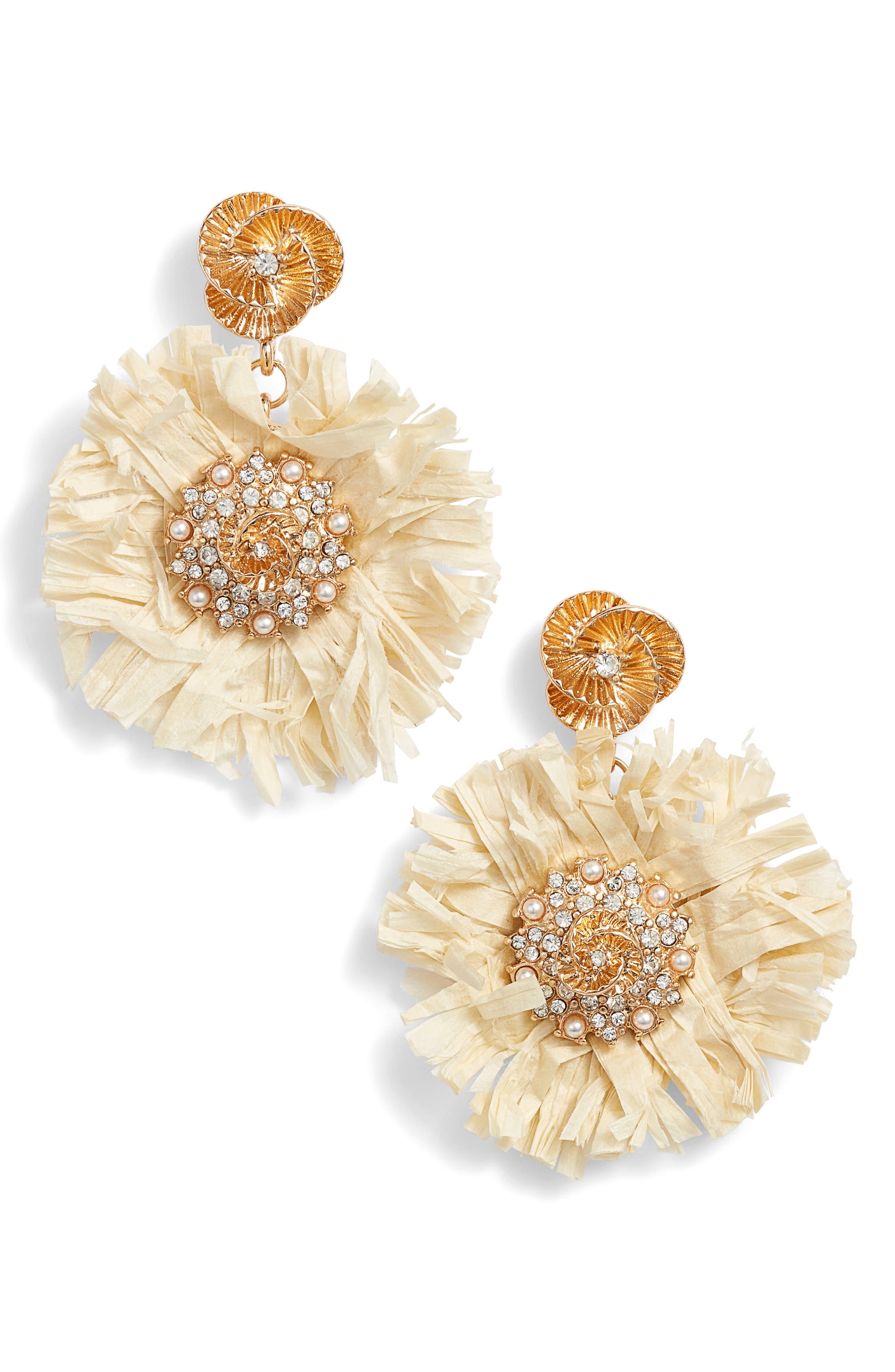 Pinwheel Straw Earrings,                         Main,                         color,