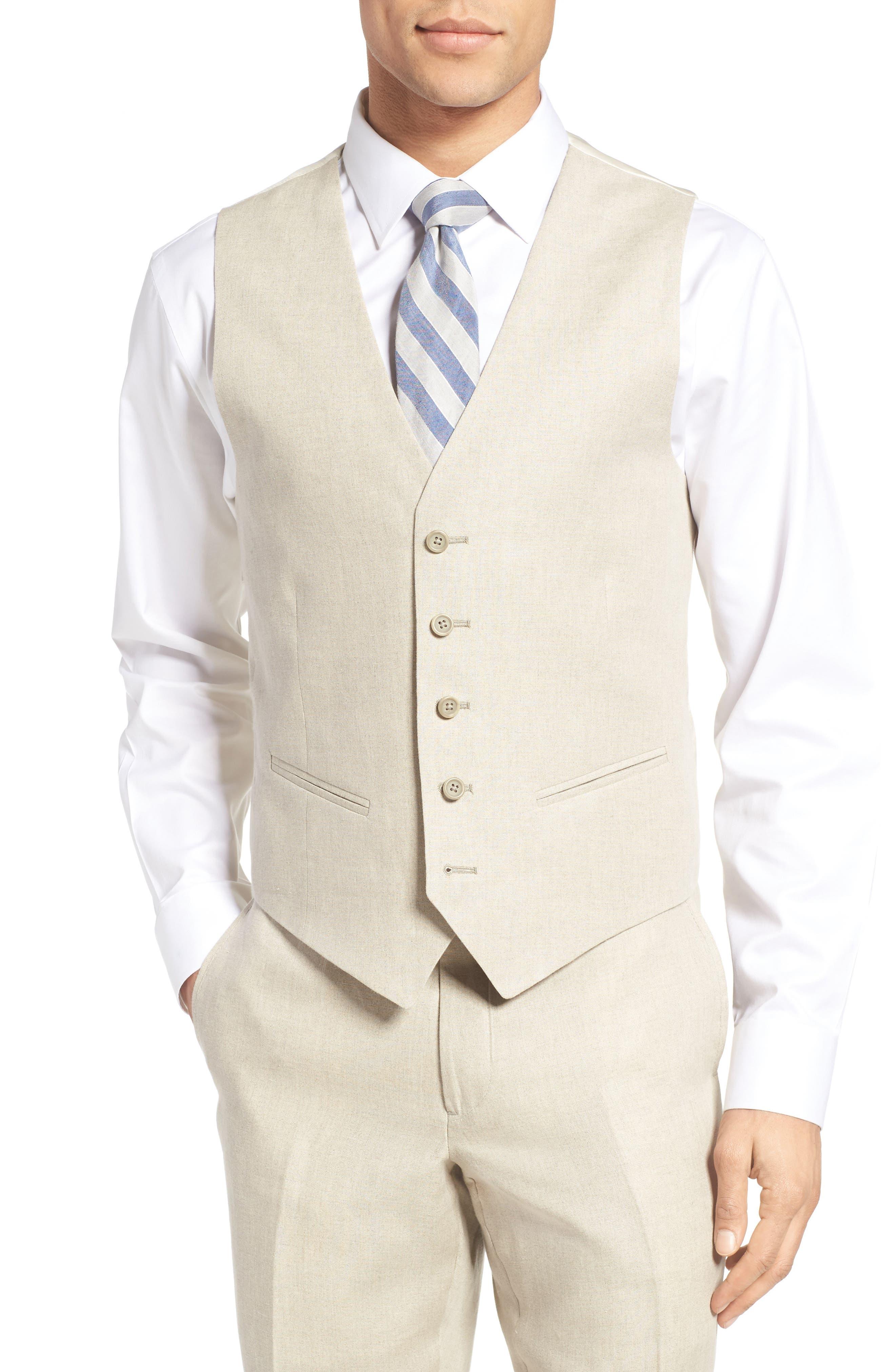 Trim Fit Solid Linen Vest,                         Main,                         color,
