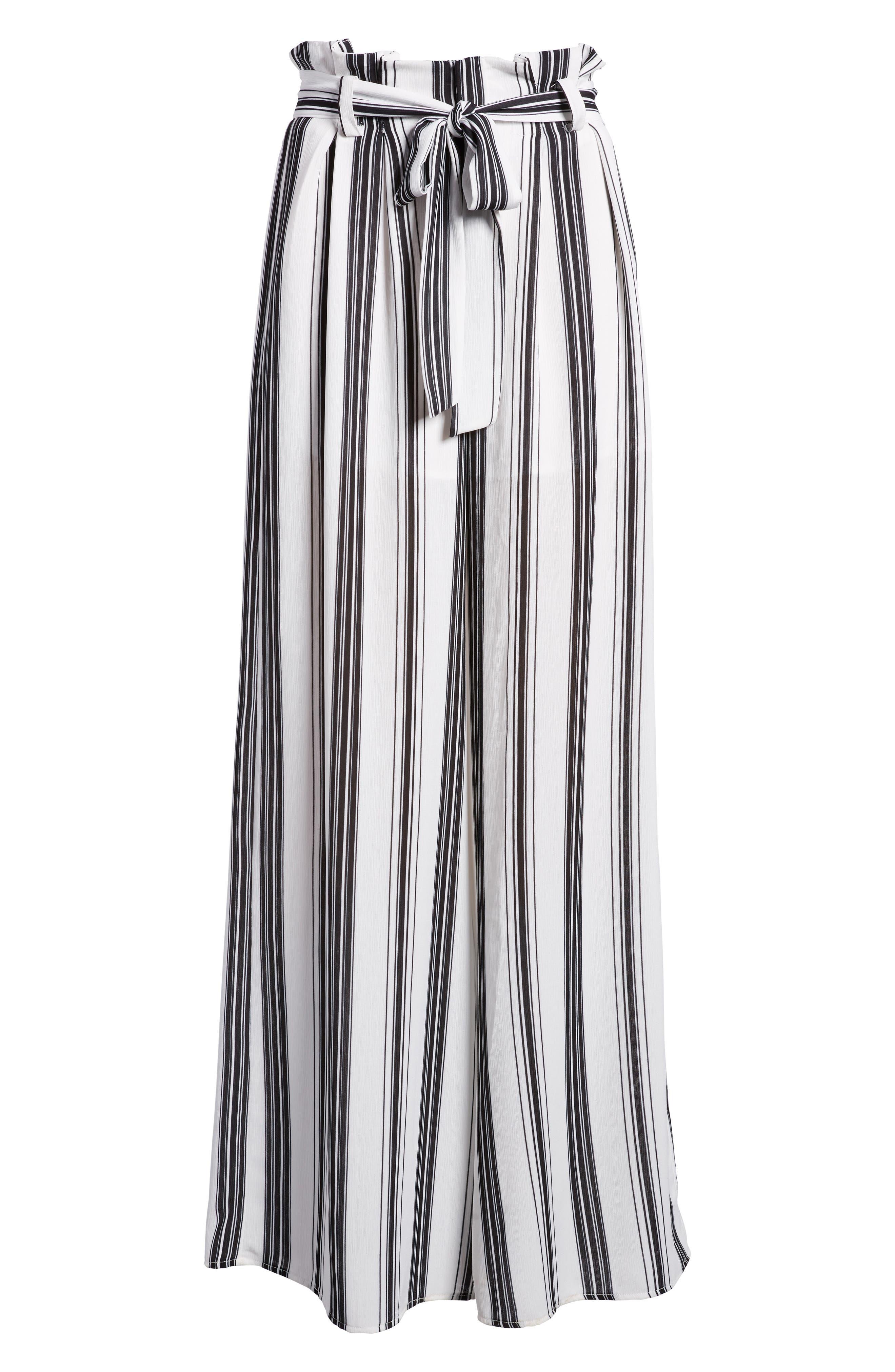 Paperbag Waist Wide Leg Crop Pants,                             Alternate thumbnail 6, color,                             001