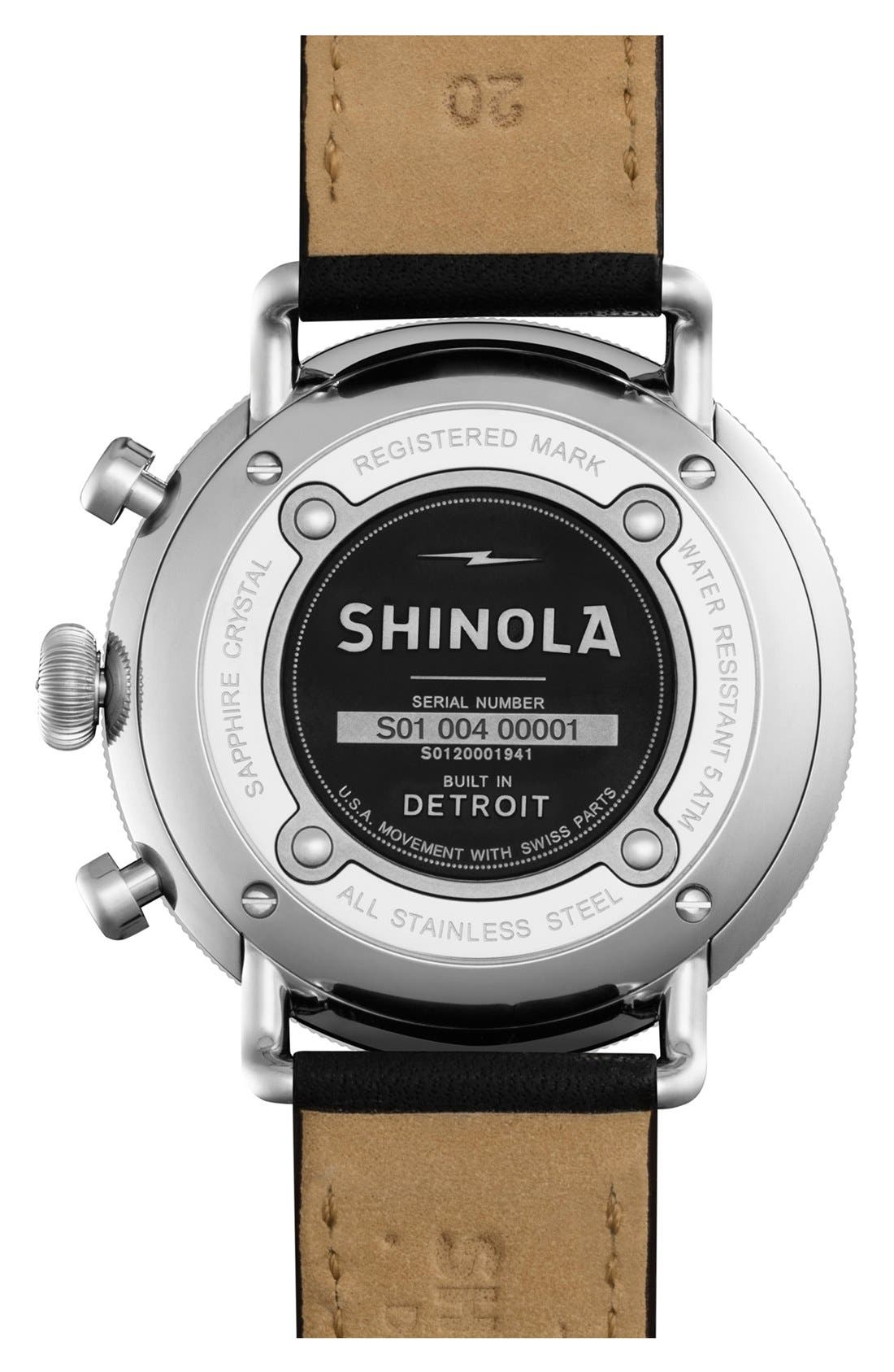 The Canfield Chrono Leather Strap Watch, 43mm,                             Alternate thumbnail 3, color,                             BLACK/ WHITE