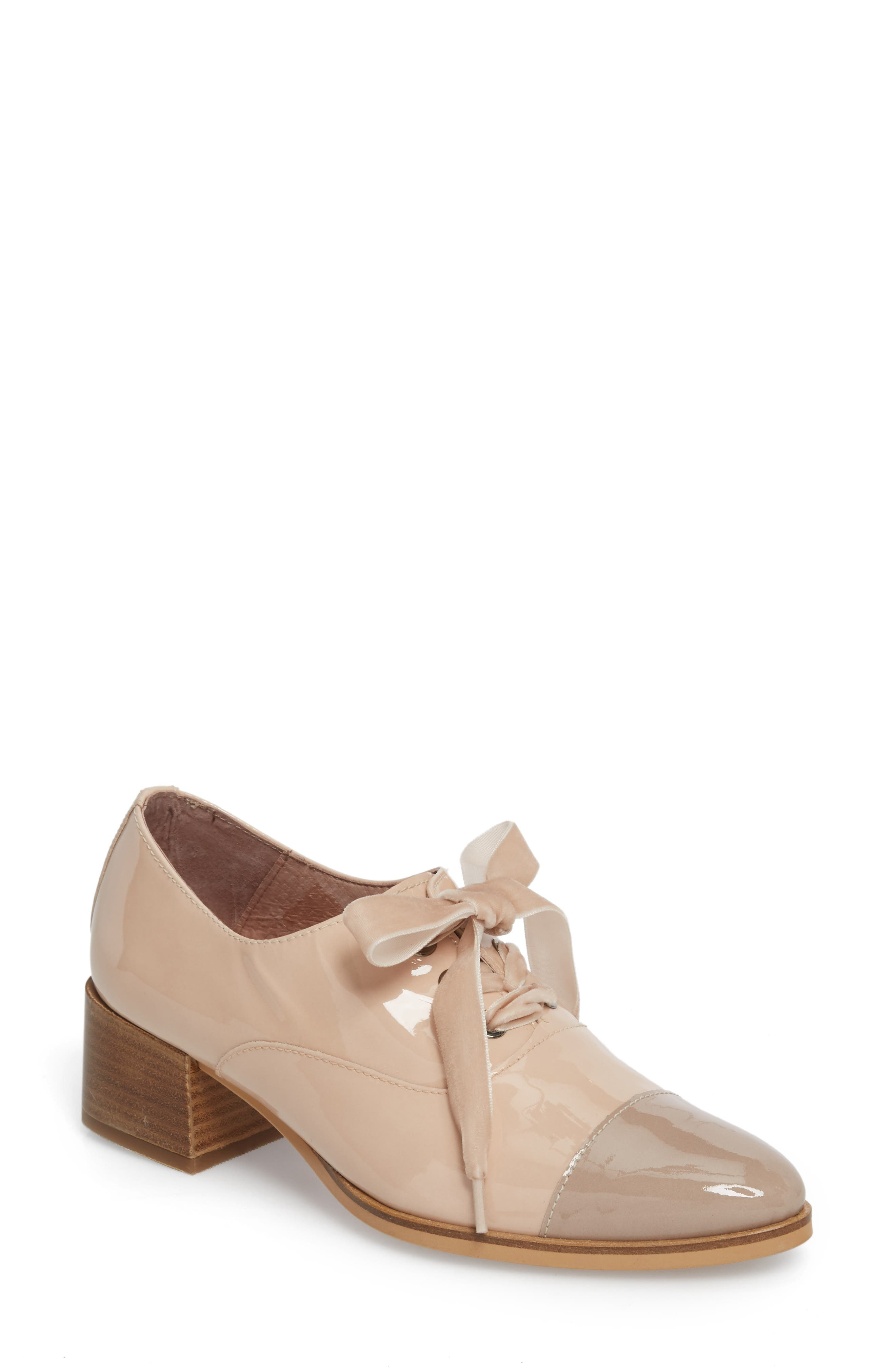 Lace-Up Oxford Pump,                             Main thumbnail 1, color,                             TAUPE/ PALO PATENT LEATHER