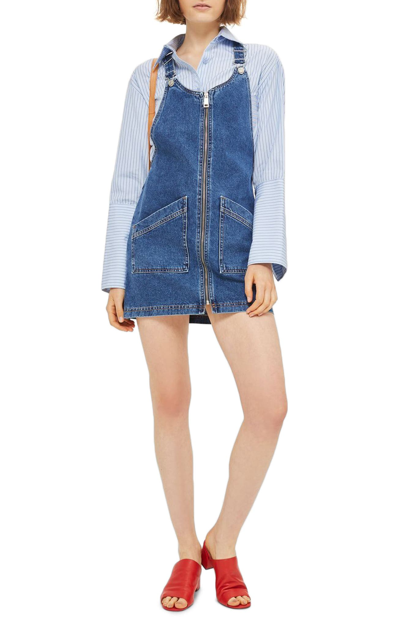 Denim Pinafore Dress,                             Main thumbnail 2, color,