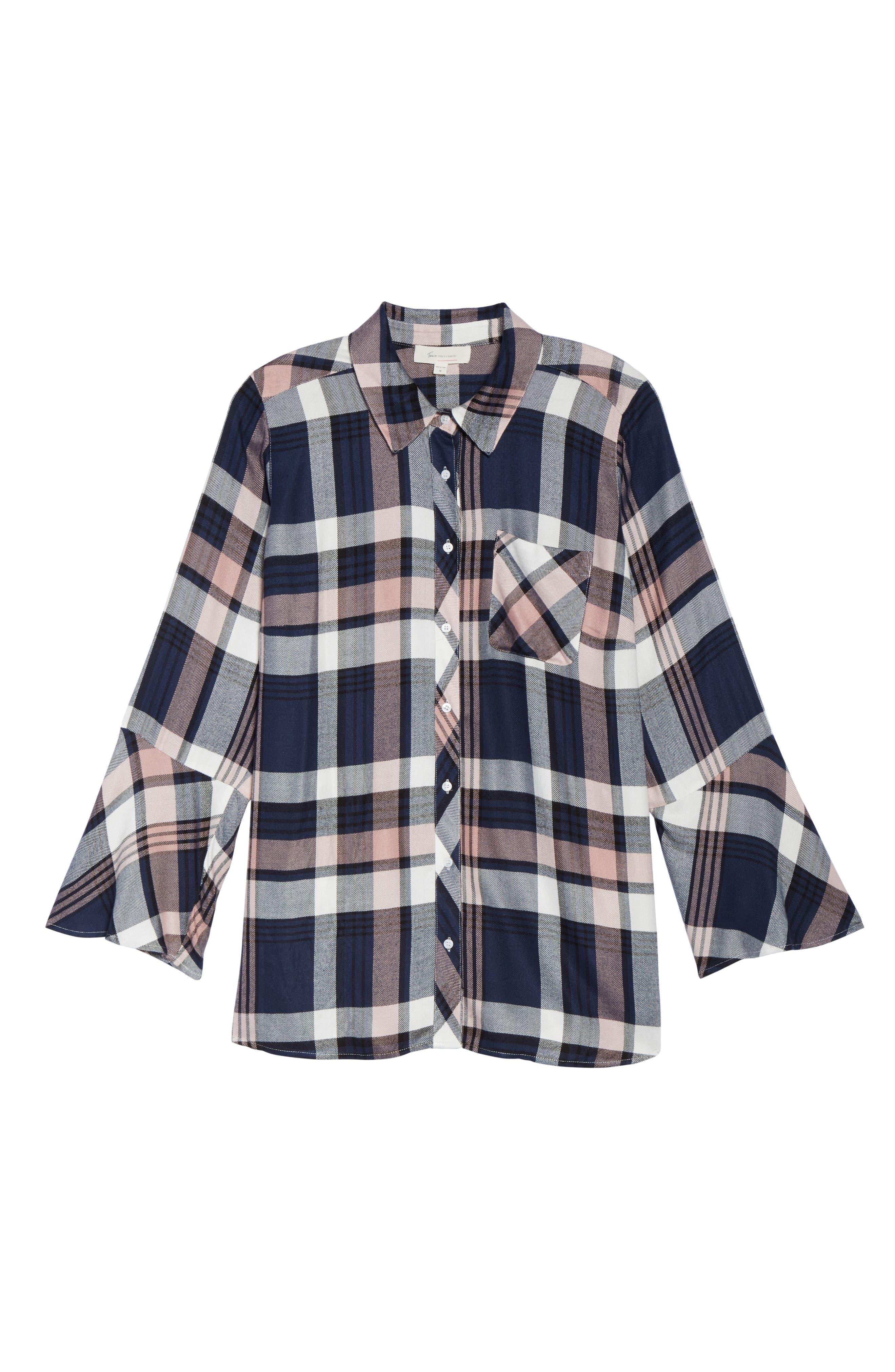 Plaid Bell Sleeve Shirt,                             Alternate thumbnail 6, color,                             657