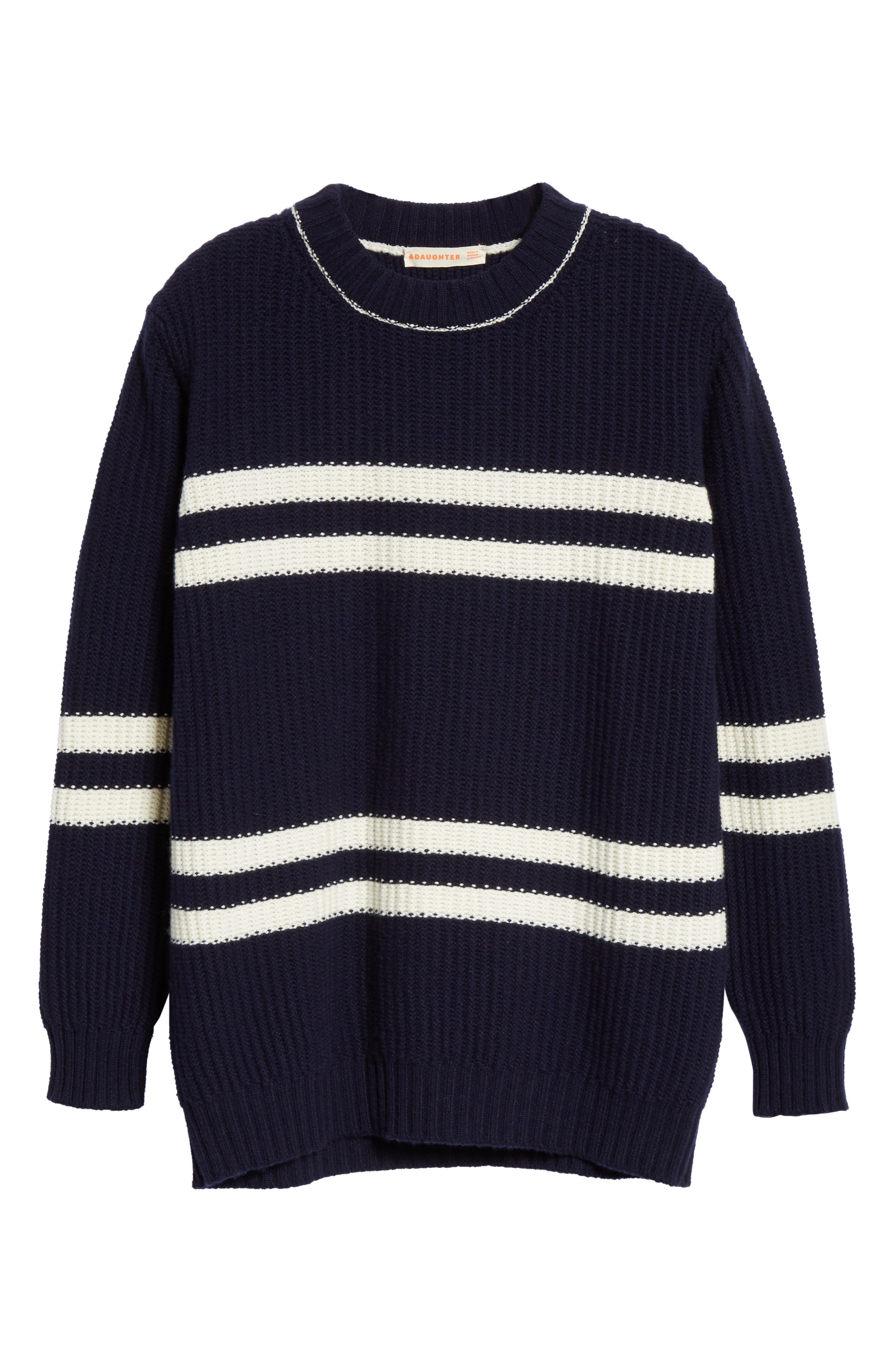 Tieve Stripe Cashmere & Cotton Sweater,                             Alternate thumbnail 6, color,                             NAVY/ ECRU