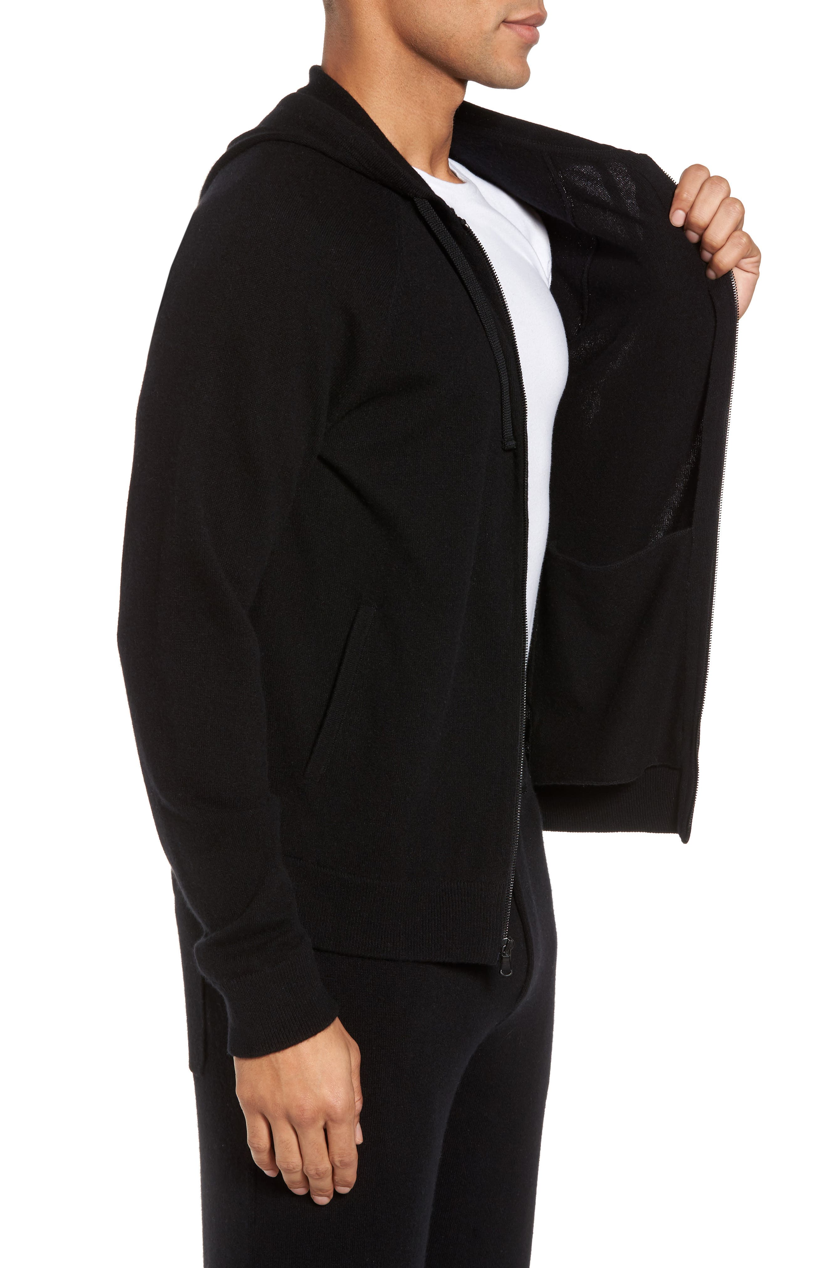 Classic Fit Cashmere Hooded Track Jacket,                             Alternate thumbnail 5, color,