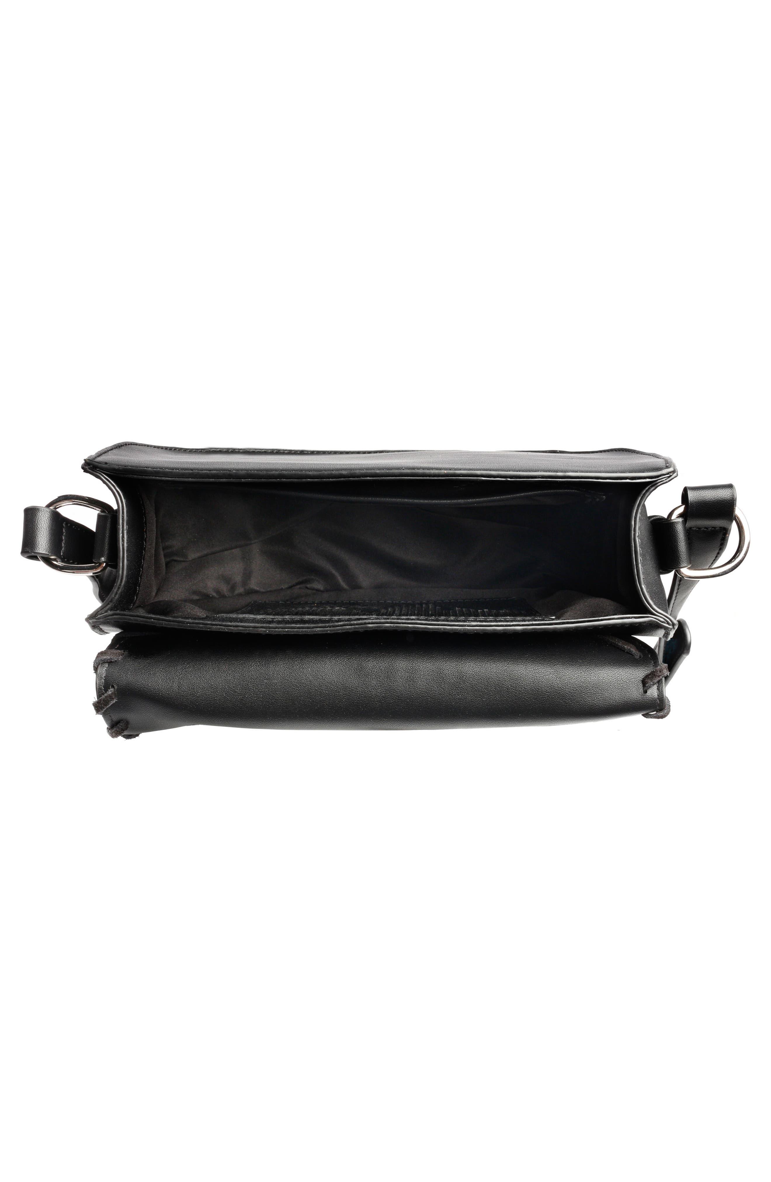 Céline Dion Espressivo Faux Leather Saddle Bag,                             Alternate thumbnail 3, color,                             001
