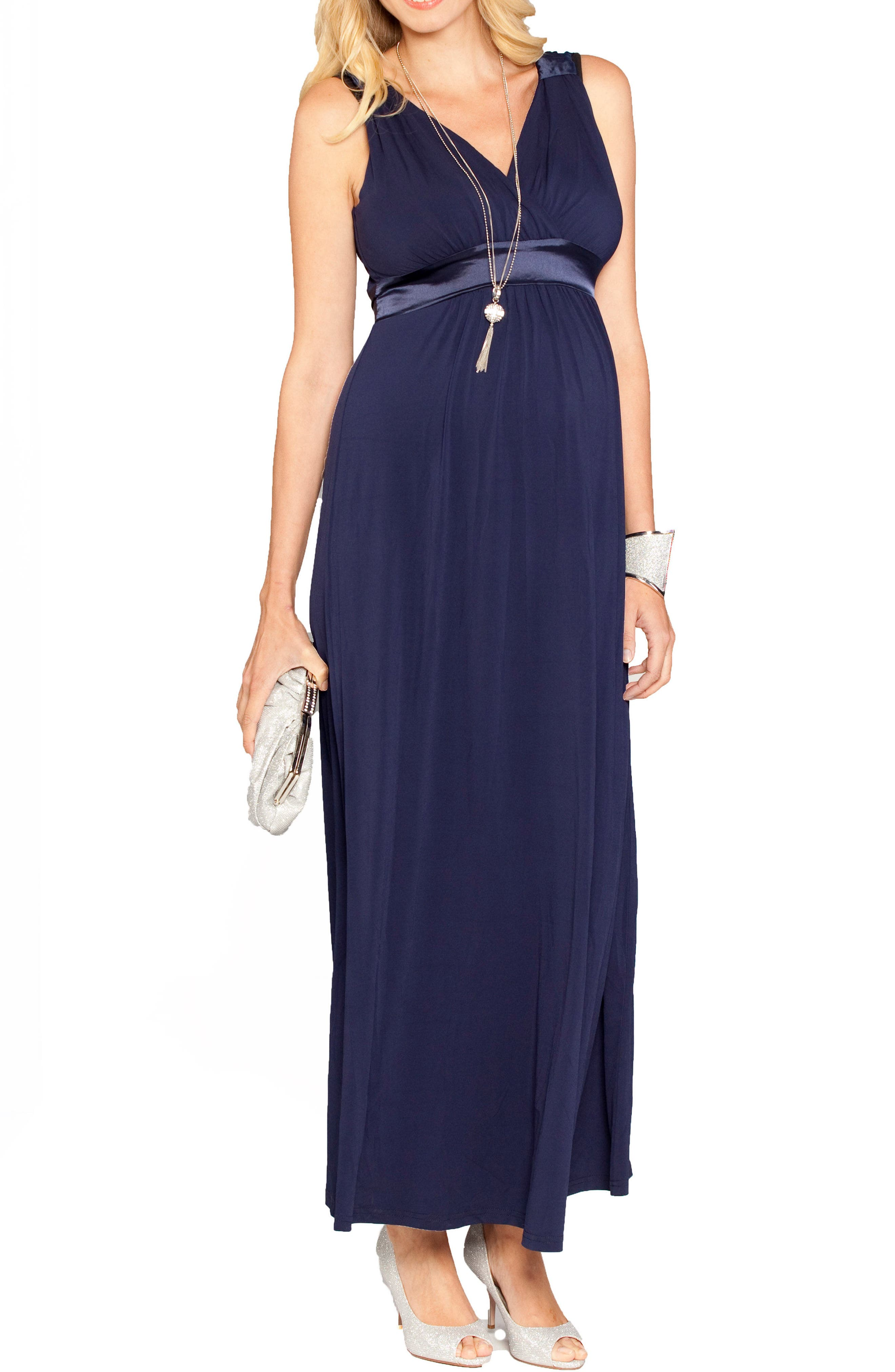 Satin Trim Maternity Dress,                         Main,                         color, DARK NAVY