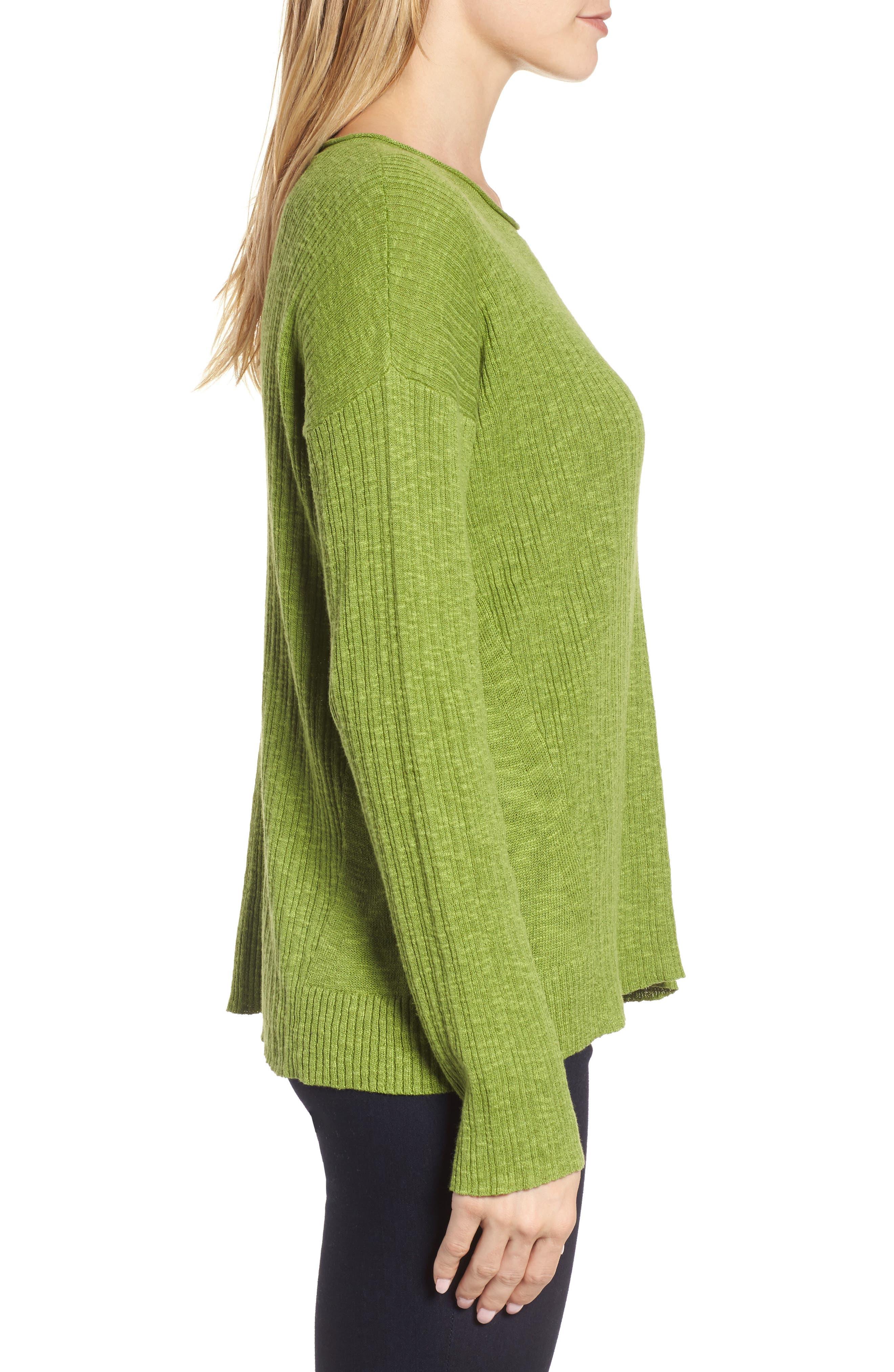 Organic Linen & Cotton Crewneck Sweater,                             Alternate thumbnail 13, color,