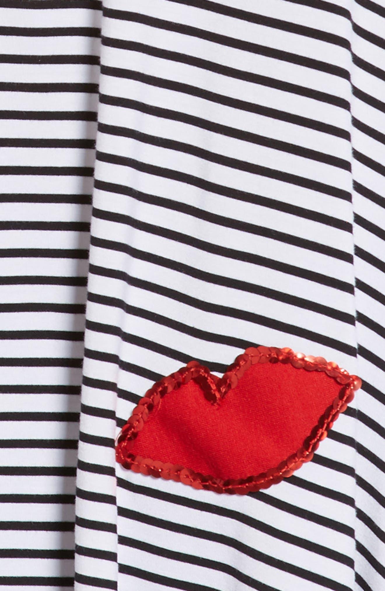 Appliqué Stripe Knit Dress,                             Alternate thumbnail 3, color,                             105
