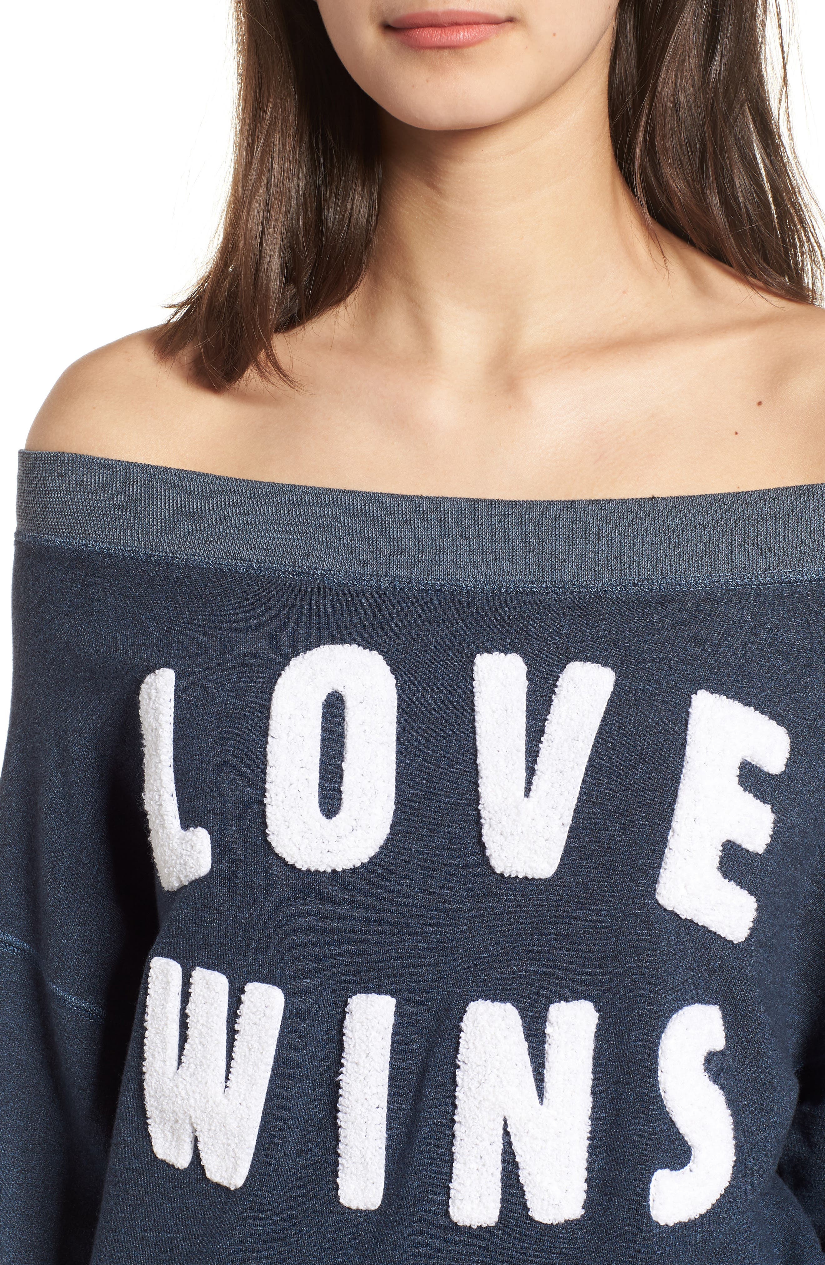 Love Wins Off the Shoulder Pullover,                             Alternate thumbnail 4, color,                             410