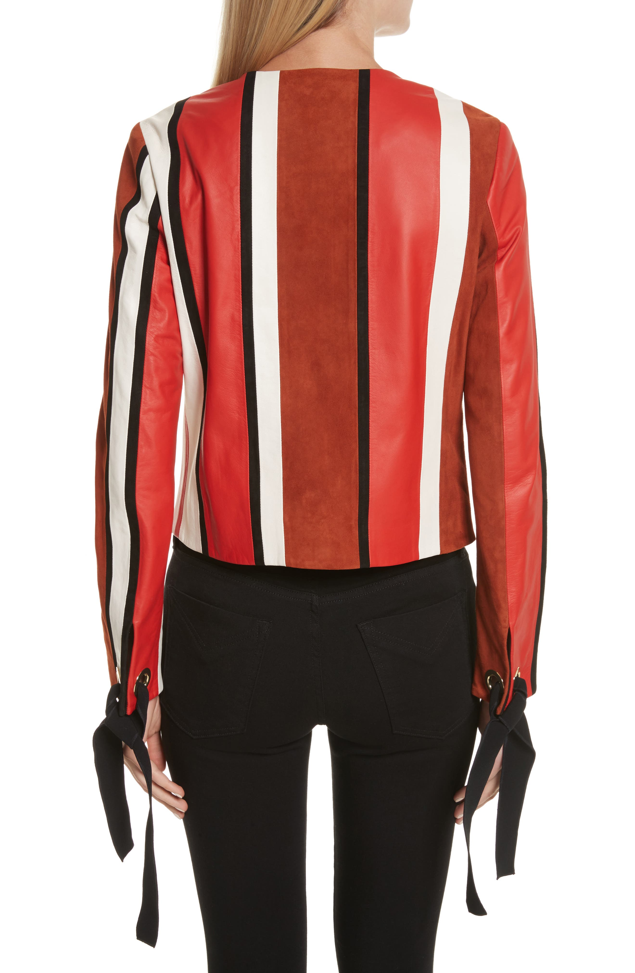 Stripe Collarless Leather Jacket,                             Alternate thumbnail 2, color,                             621